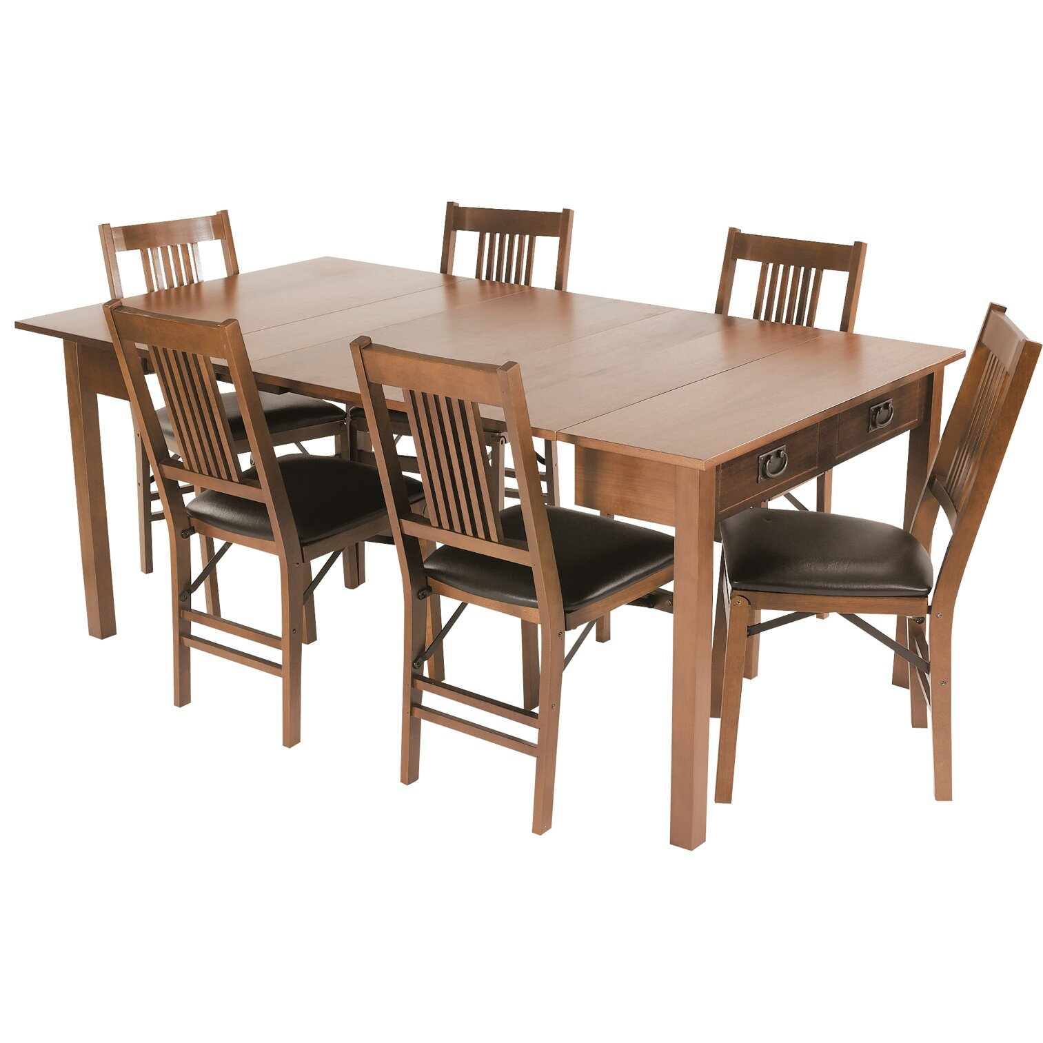 stakmore mission style expanding dining table reviews wayfair. Black Bedroom Furniture Sets. Home Design Ideas