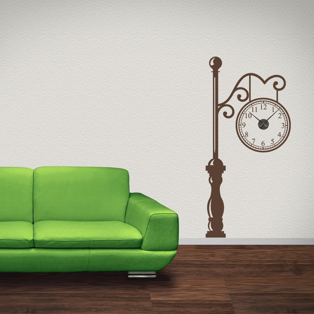 Style and apply antic train station wall clock wall decal for Train station style wall clock
