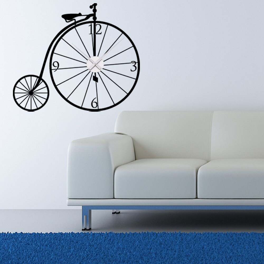 Style and apply bicycle wall clock wall decal wayfair for Kitchen colors with white cabinets with tandem bike wall art