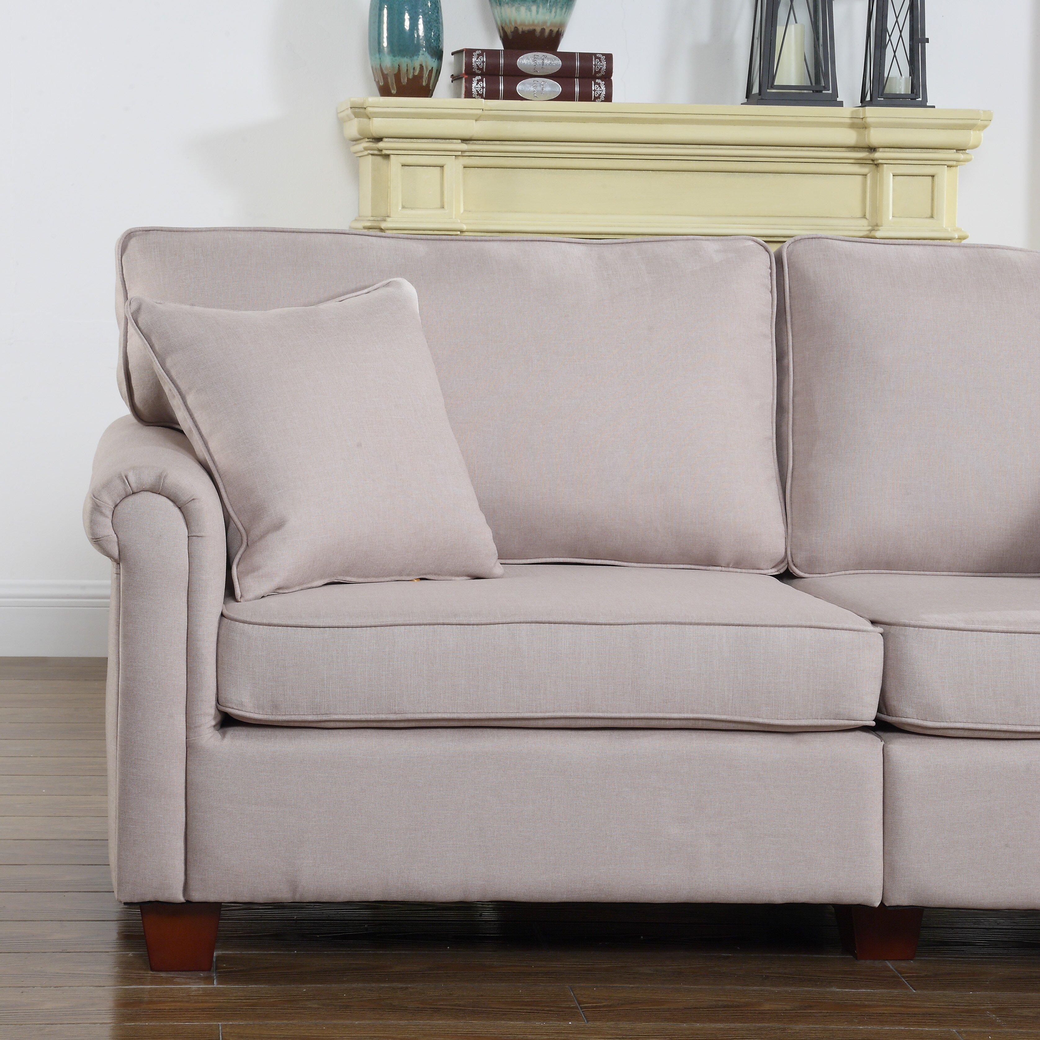 Madrid Taupe Beige Ultra Modern Living Room Furniture 3: Madison Home USA Classic Living Room Linen Fabric Sofa