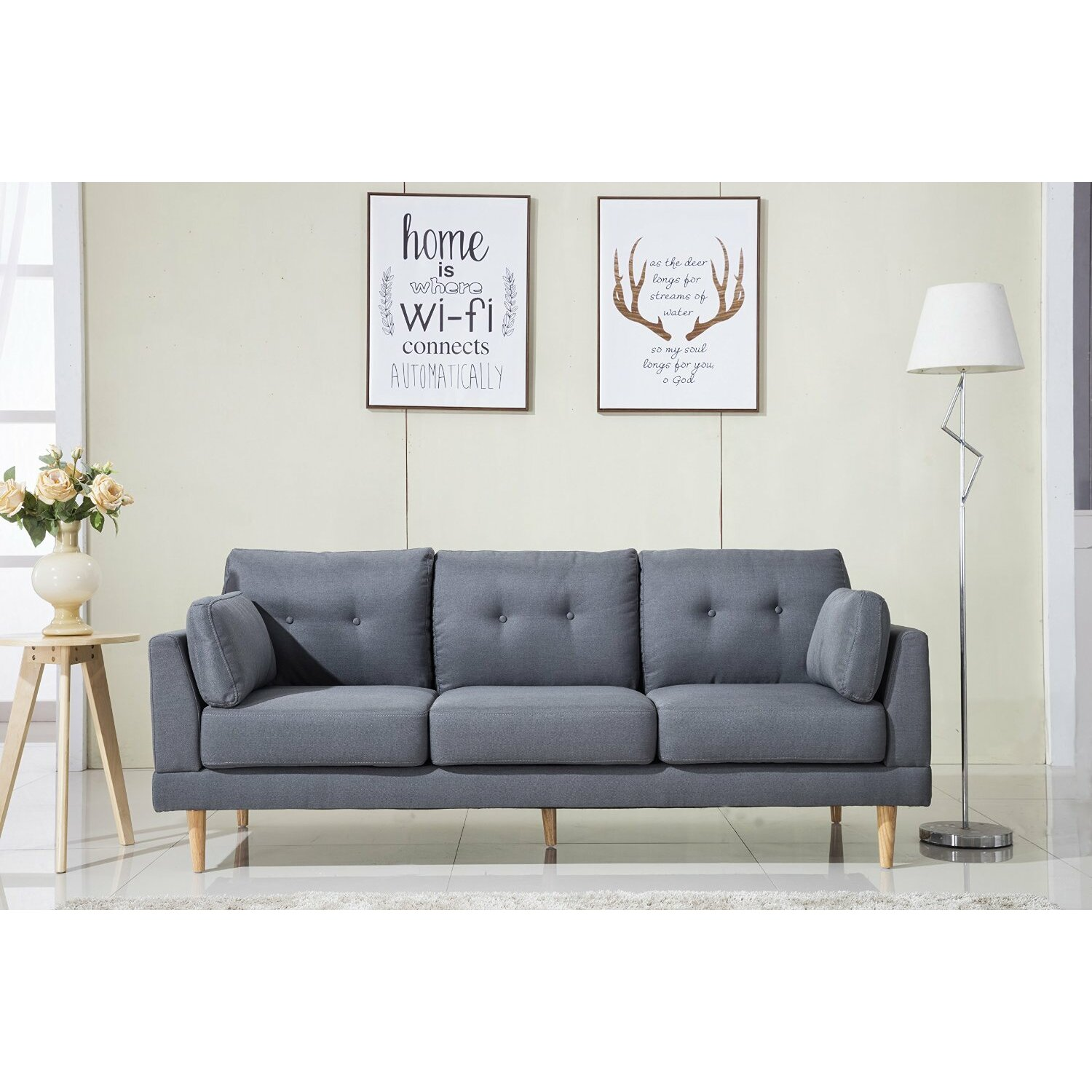 Madison home usa mid century modern ultra plush linen for Modern contemporary linen sectional sofa with