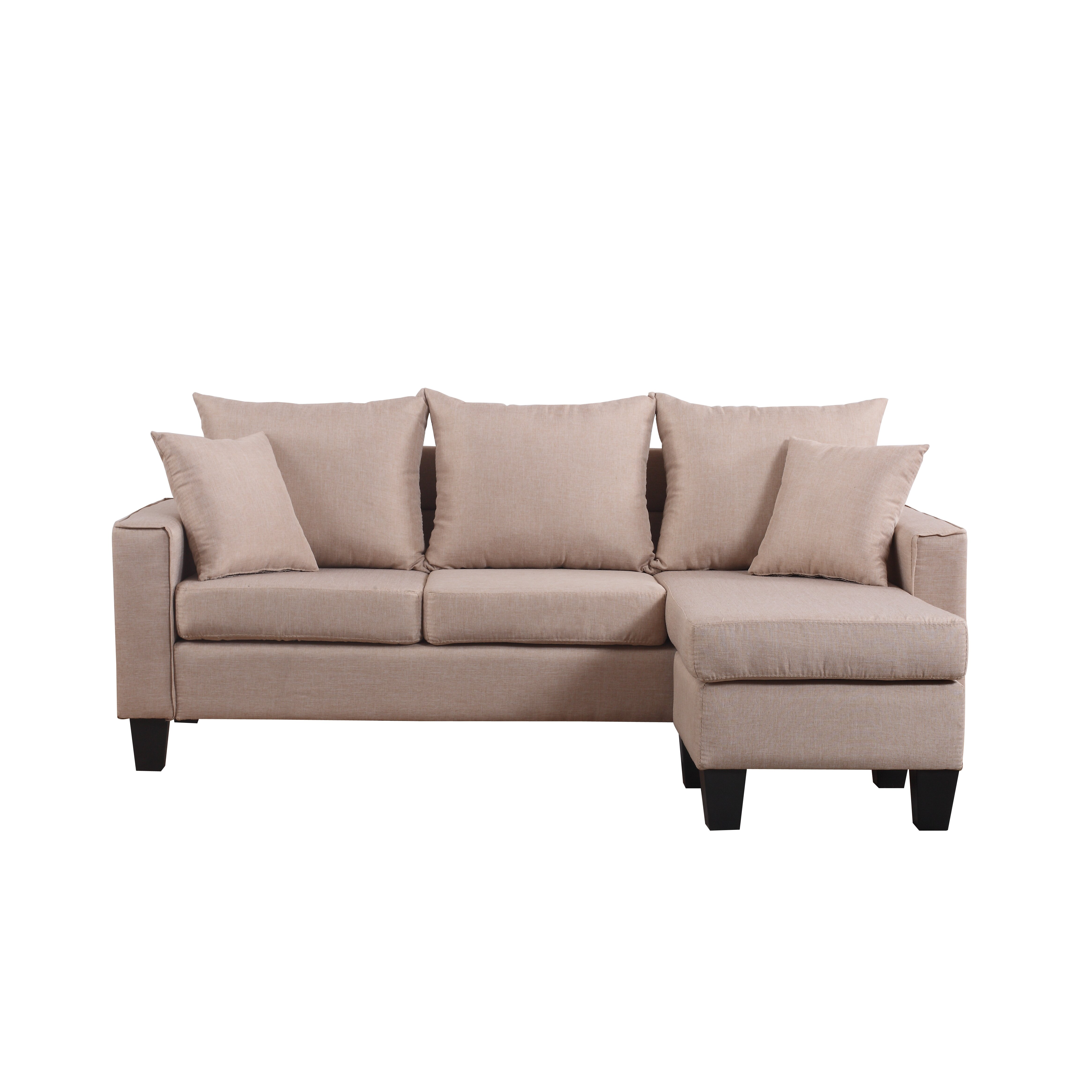 Modern Linen Fabric Small Space Sectional Sofa with Reversible Chaise EXP72 MHUS1194