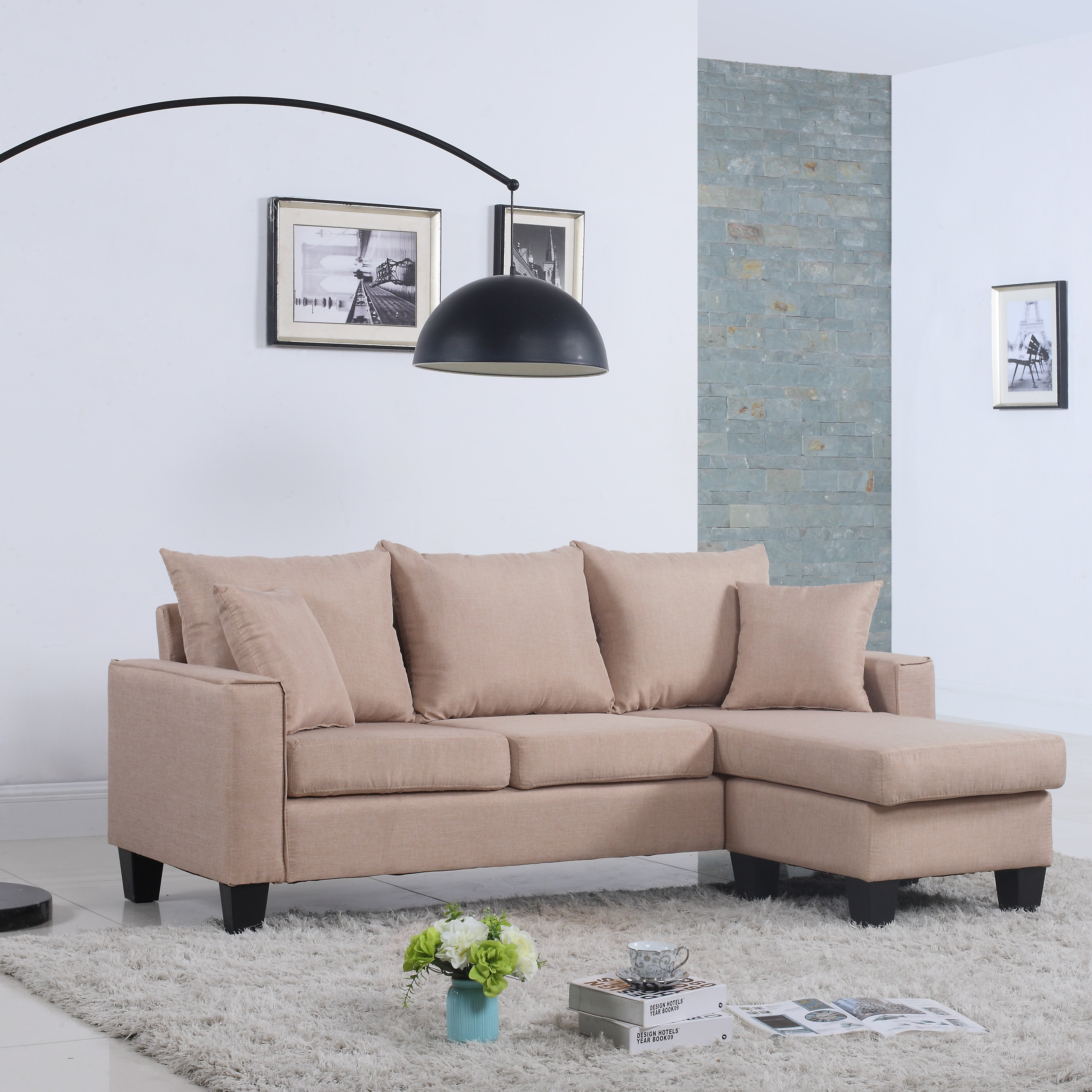 Madison home usa reversible chaise sectional wayfair for Sectional sofa reversible chaise living room furniture
