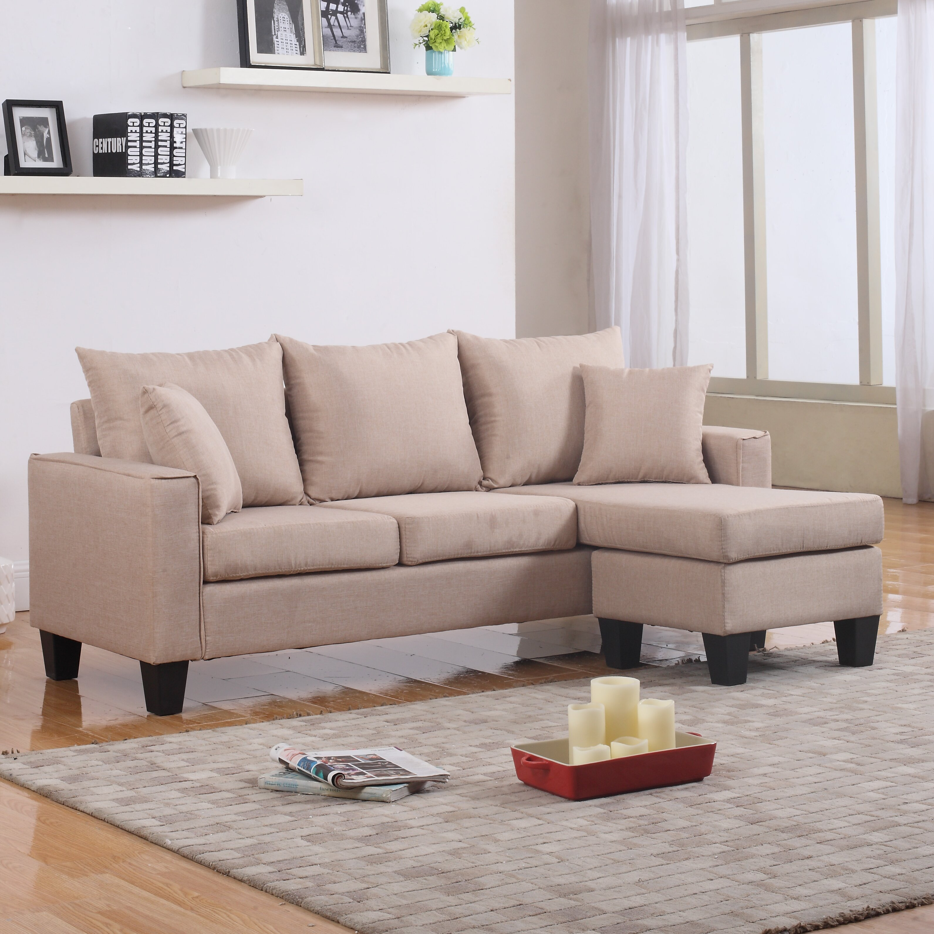 Madison home usa reversible chaise sectional wayfair - Small couch with chaise ...