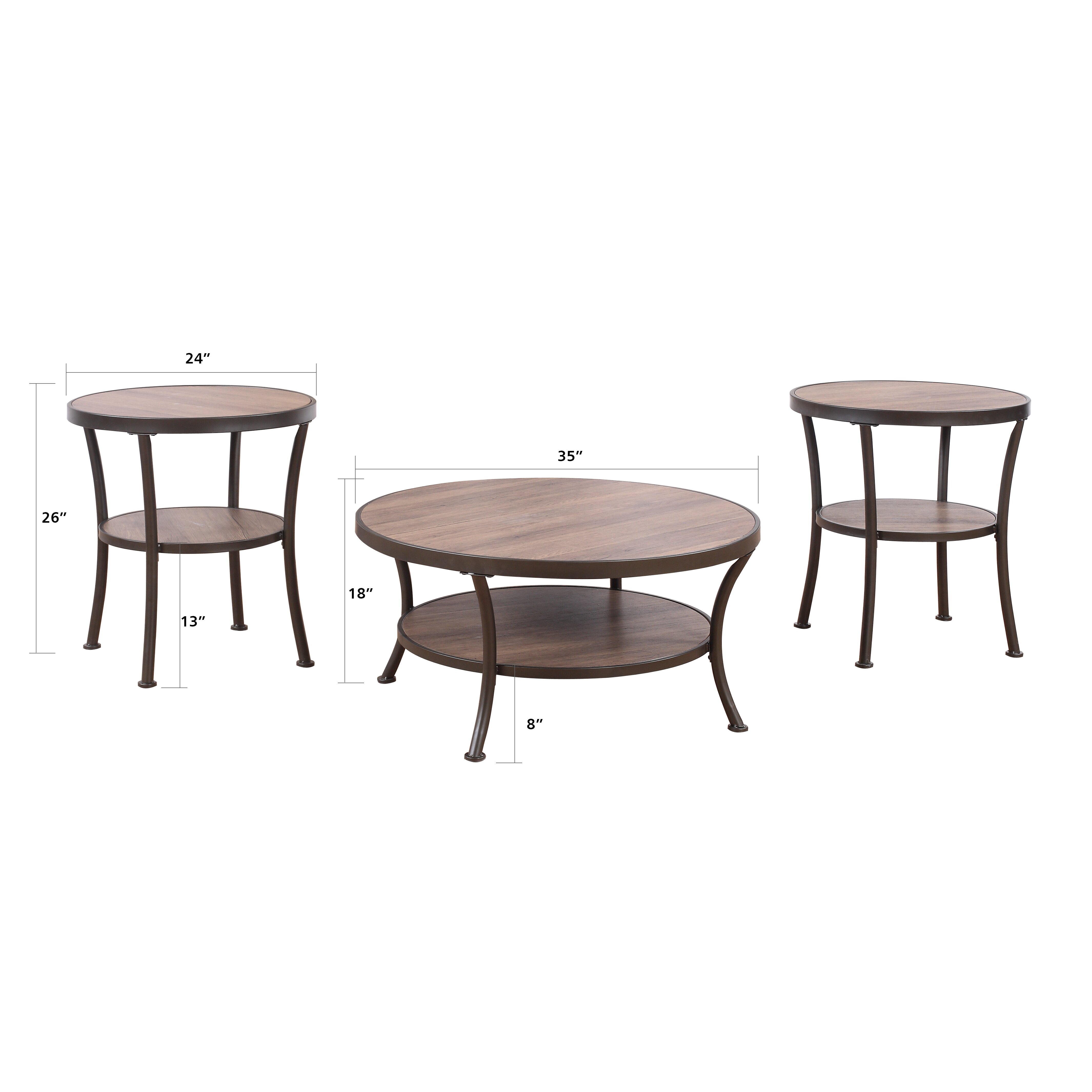 madison home usa 3 piece coffee table and end table set reviews wayfair. Black Bedroom Furniture Sets. Home Design Ideas