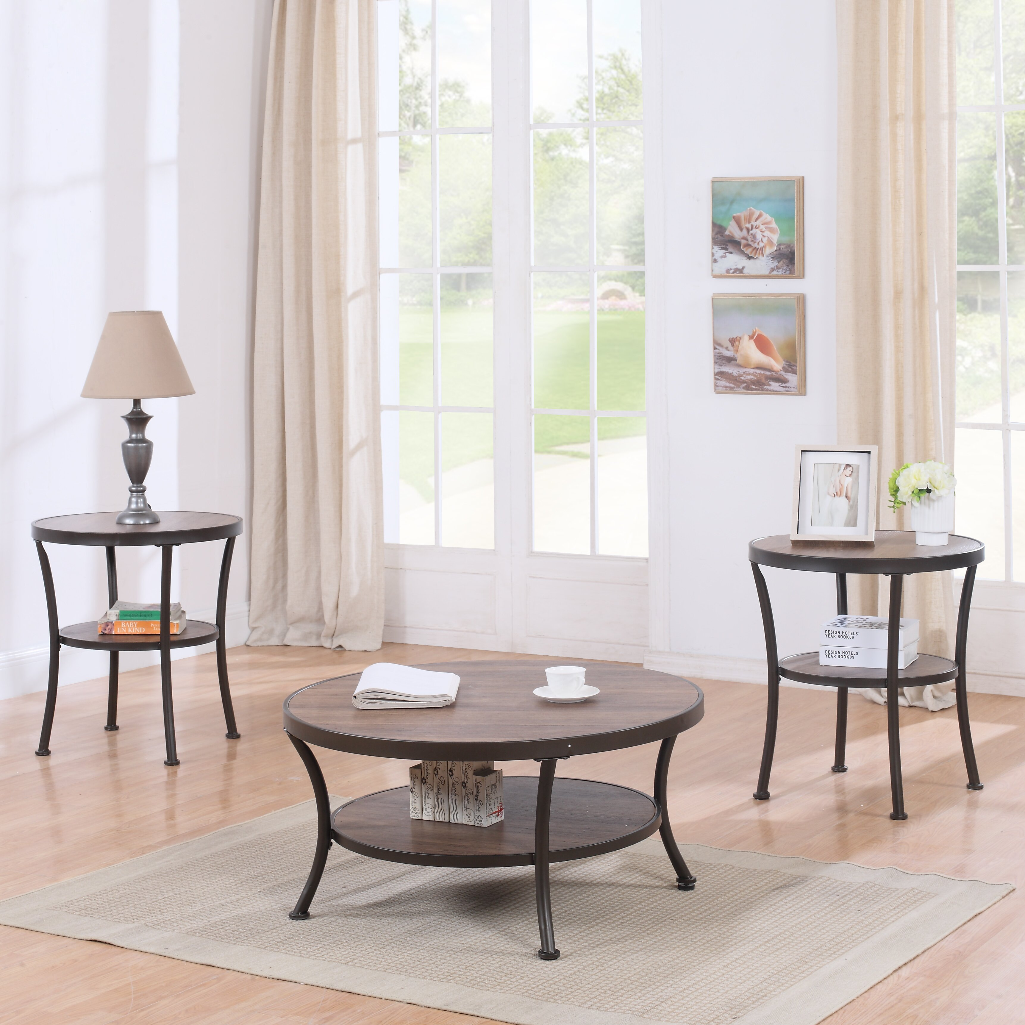 Coffee Table And End Table Sets: Madison Home USA 3 Piece Coffee Table And End Table Set