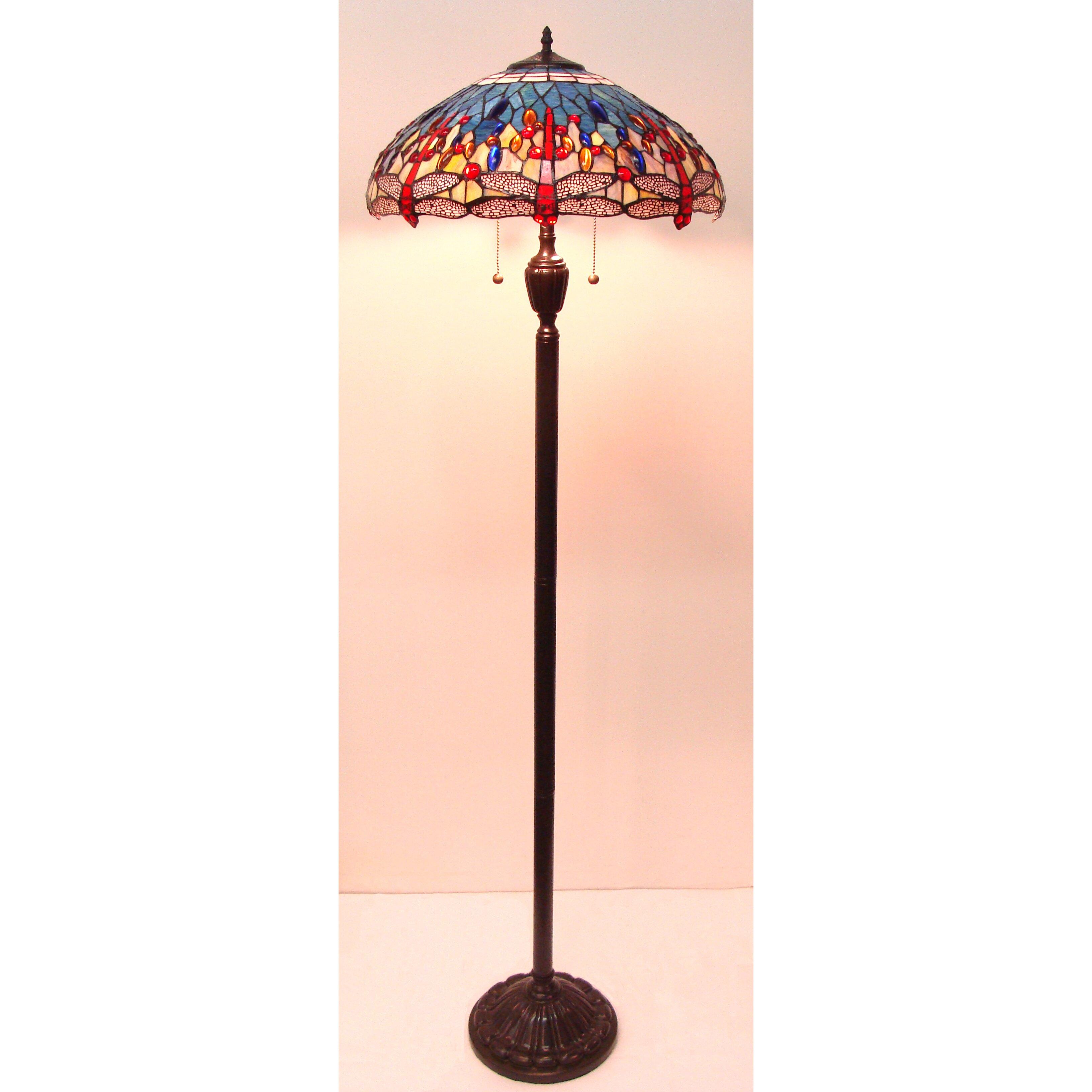 fine art lighting tiffany dragonfly 62 floor lamp wayfair. Black Bedroom Furniture Sets. Home Design Ideas