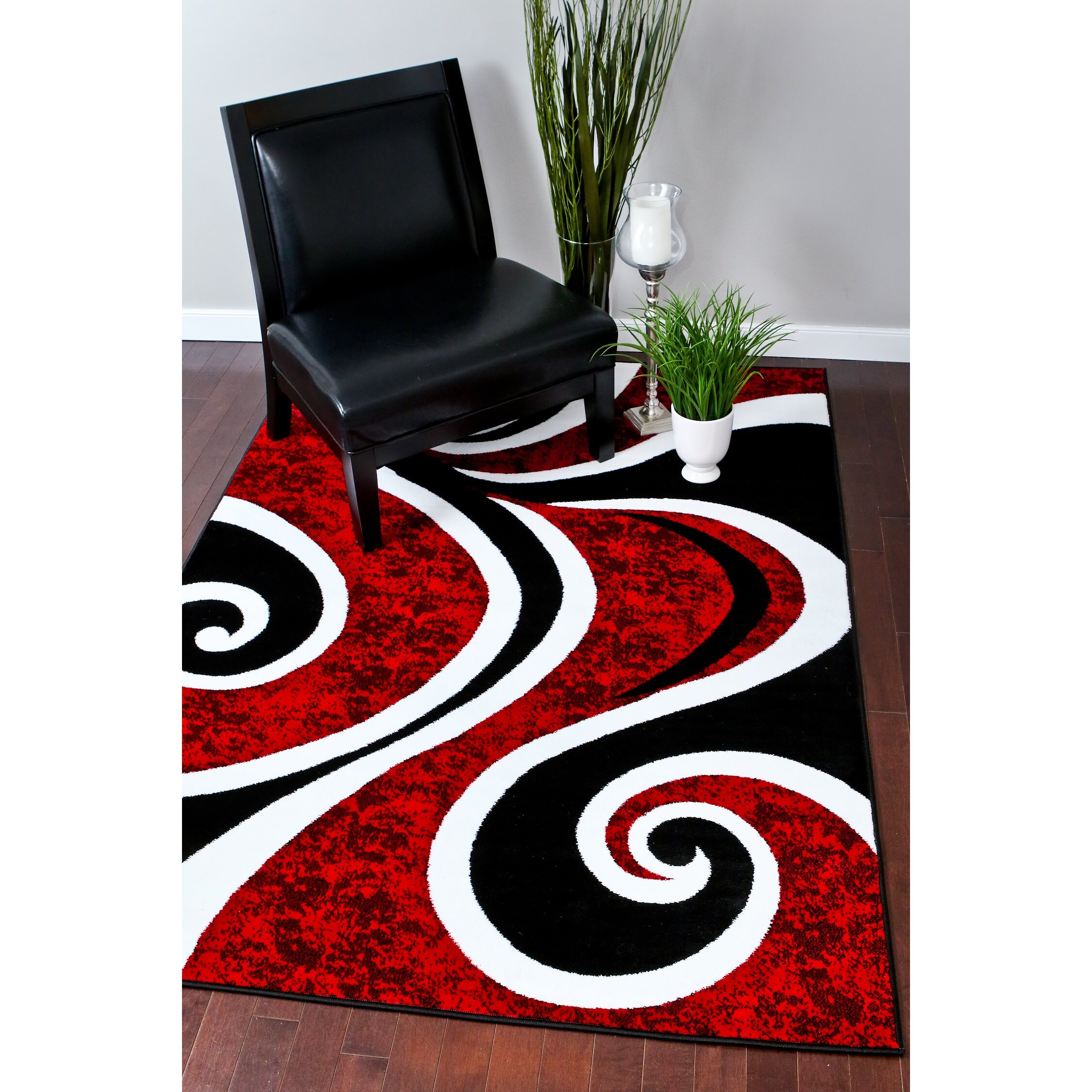 Persian-rugs Modern Swirl Red Area Rug & Reviews