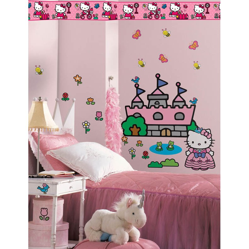 Wallhogs Hello Kitty Princess Castle Room Makeover Wall