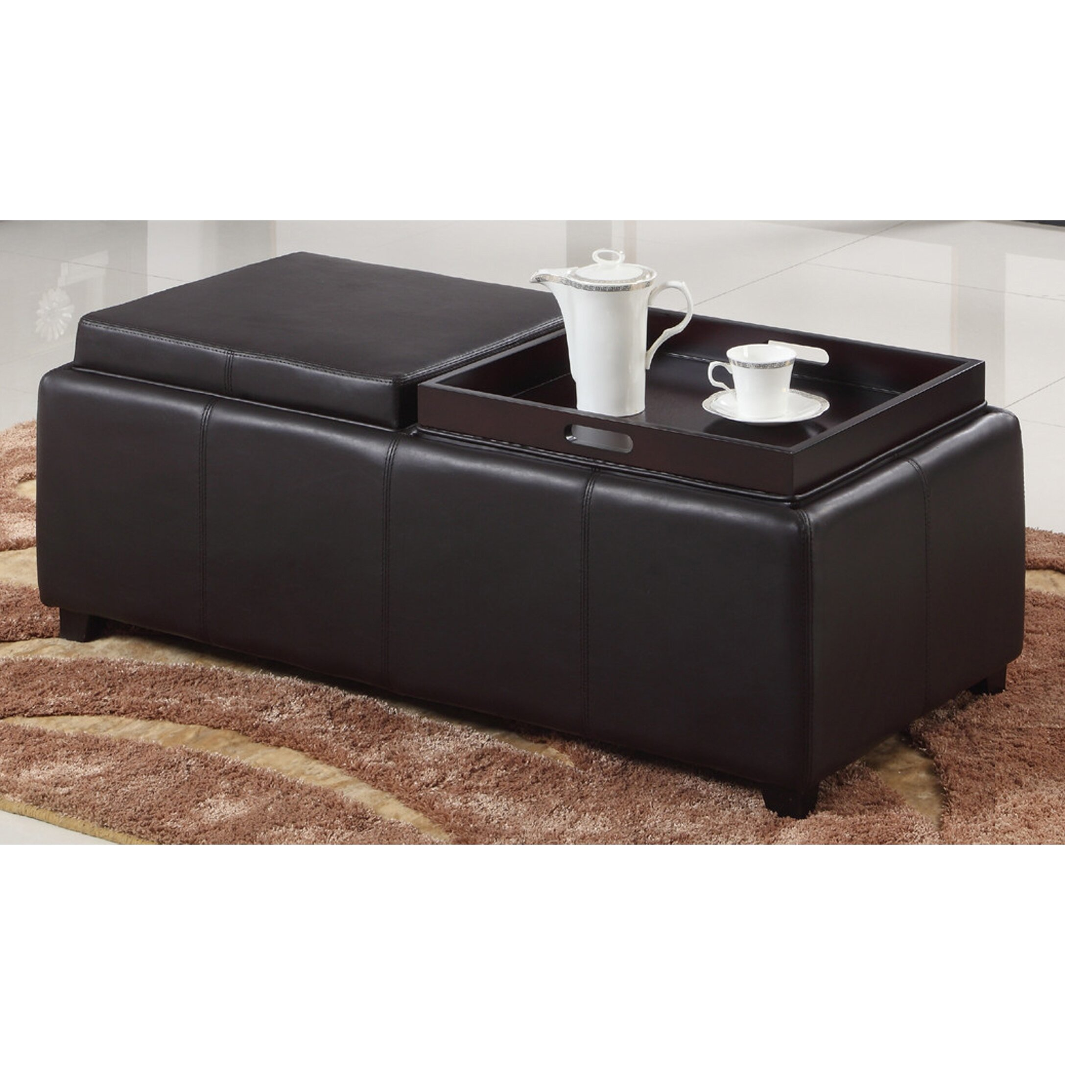 worldwide homefurnishings double tray storage ottoman