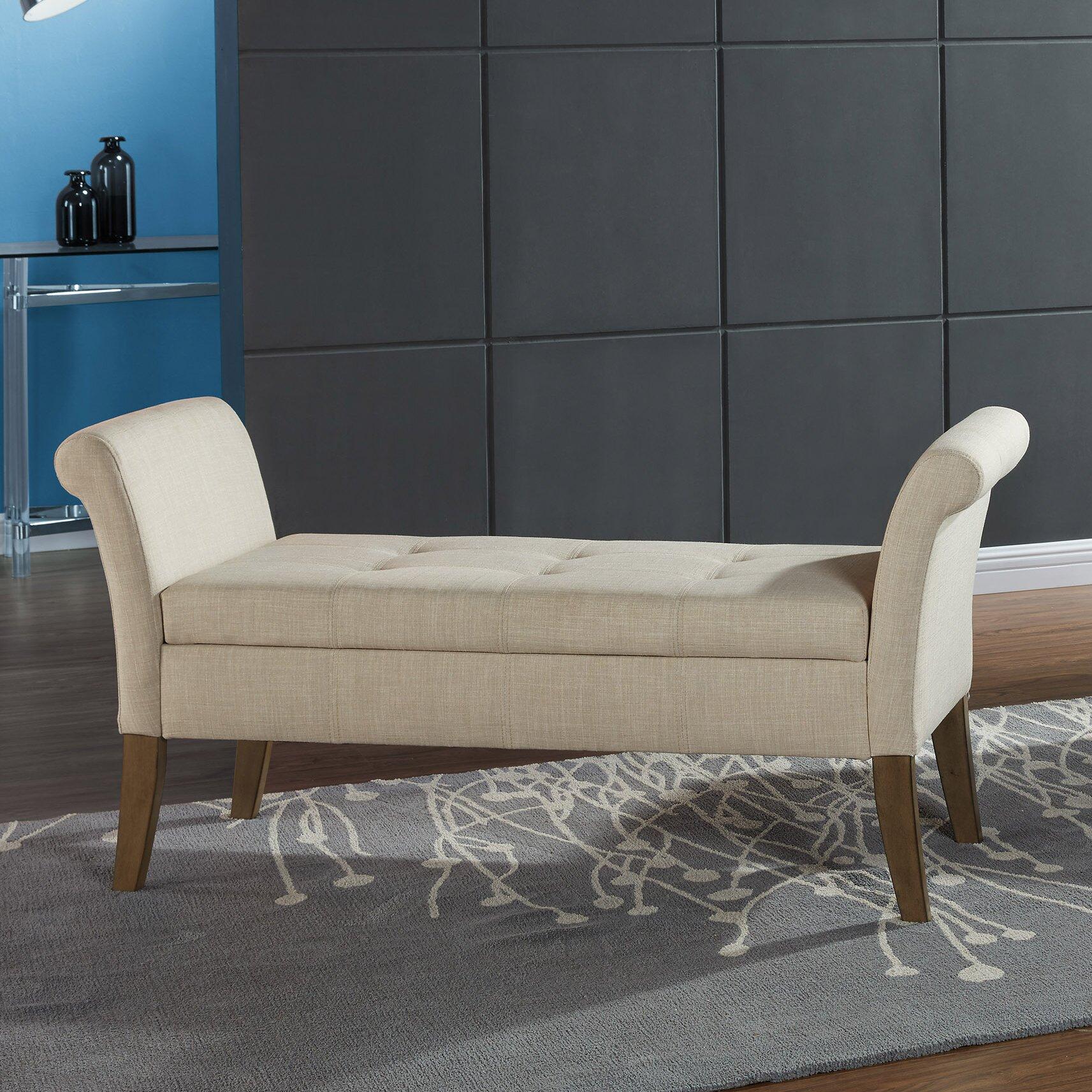 Worldwide homefurnishings upholstered storage bedroom bench amp reviews