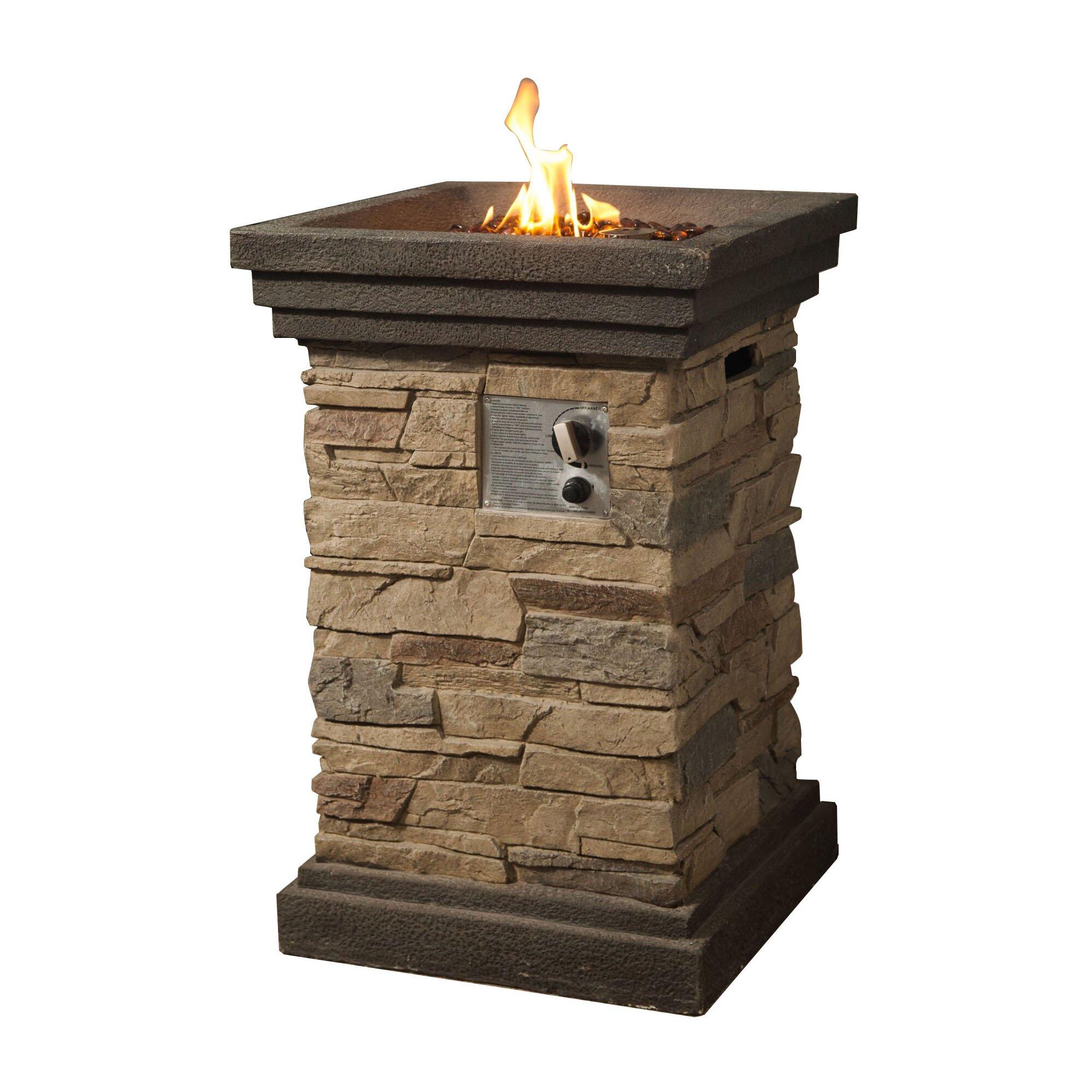 Peaktop Rock Gas Fire Column & Reviews | Wayfair