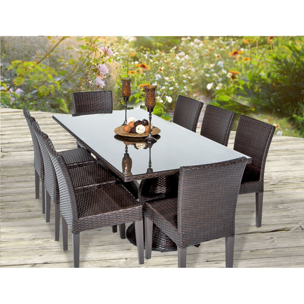 Tk classics napa 9 piece dining set reviews wayfair for Outdoor furniture 9 piece