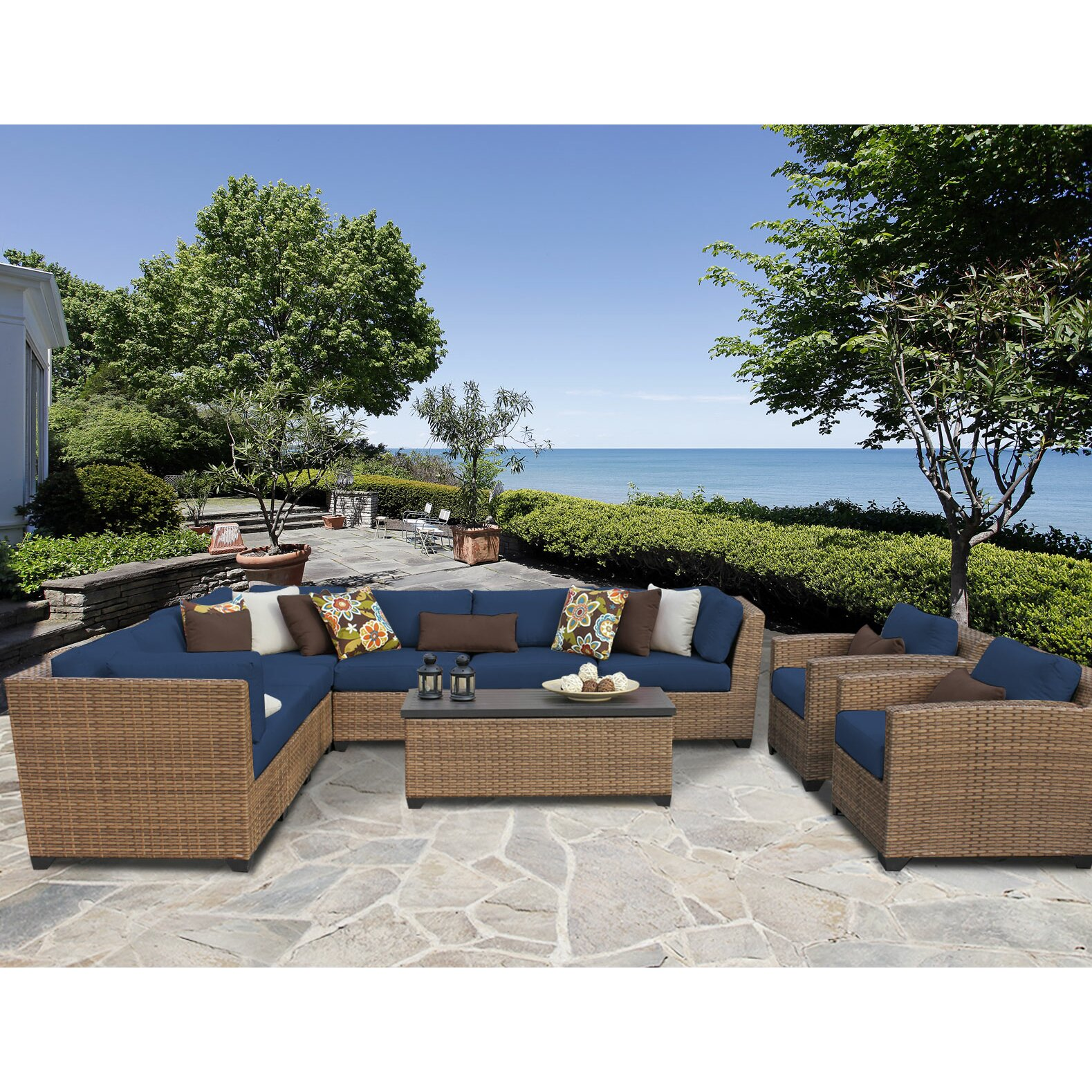 TK Classics Laguna Outdoor Wicker Patio 10 Piece Deep