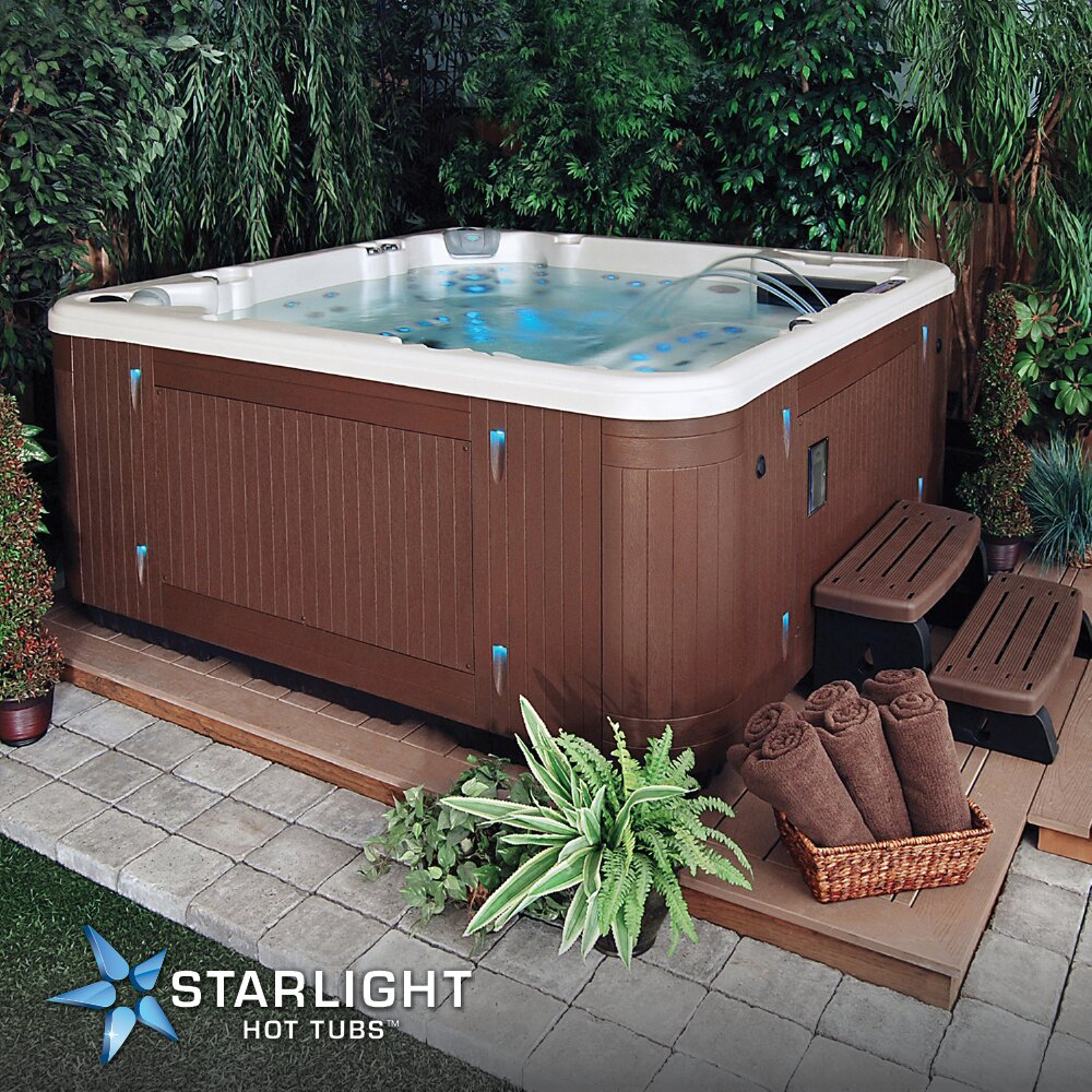 Starlight Hot Tubs 7 Person 115 Jet Sirius Lounge Spa With Waterfall Reviews Wayfair