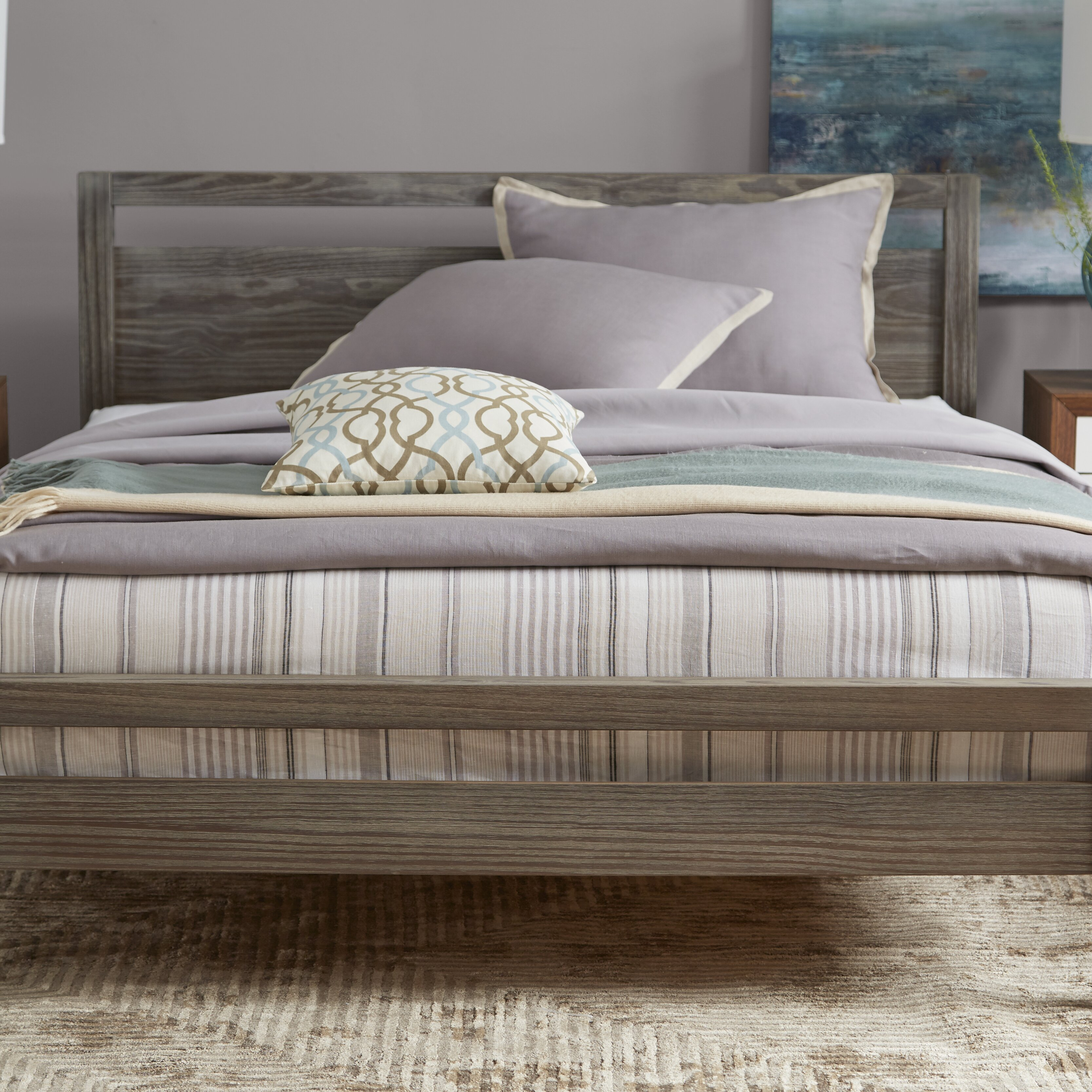Aico Hollywood Loft Frost Upholstered Platform Bed 9001600ckbed 104 In - Grain wood furniture loft queen platform bed reviews wayfair