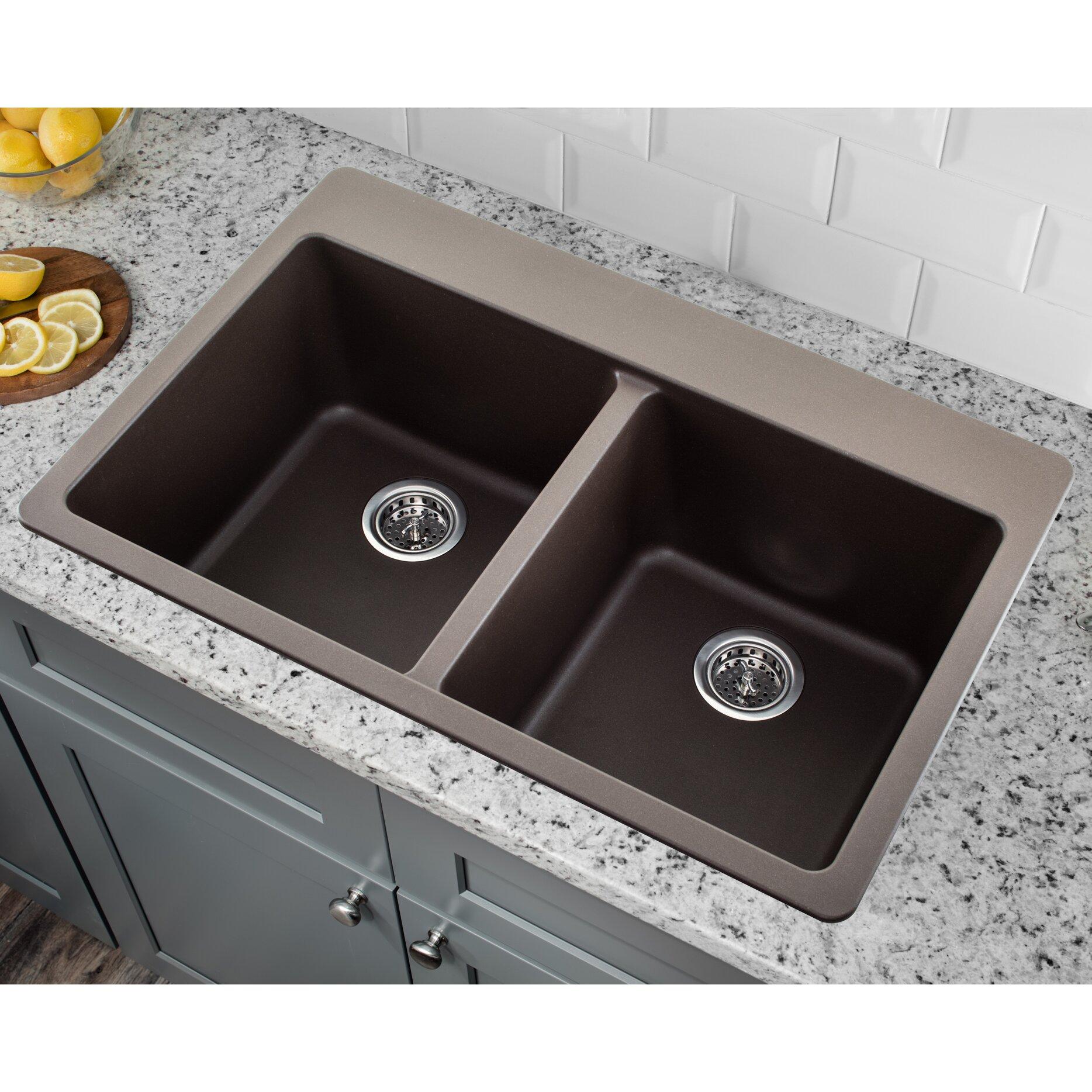 Soleil 33 X 22 Quartz Double Bowl Kitchen Sink With Twist And Lock Strainer Wayfair