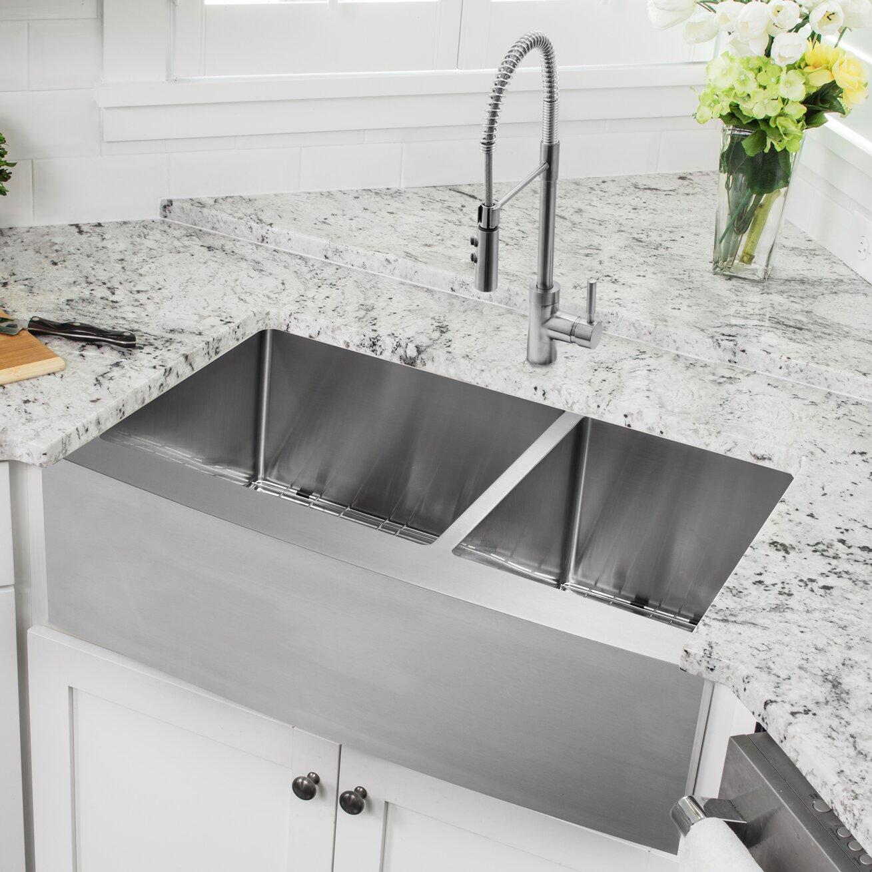 "Apron Kitchen Sinks: Soleil 33"" X 20.75"" Apron Front Double Bowl Undermount"