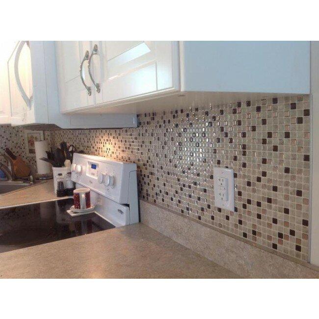 smart tiles minimo x peel stick mosaic tile in beige bronze wayfair uk. Black Bedroom Furniture Sets. Home Design Ideas