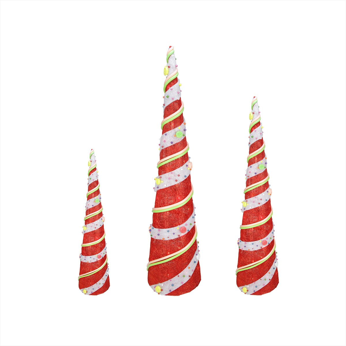 Northlight 3 Piece Candy Covered Tree Christmas Decoration Set & Reviews