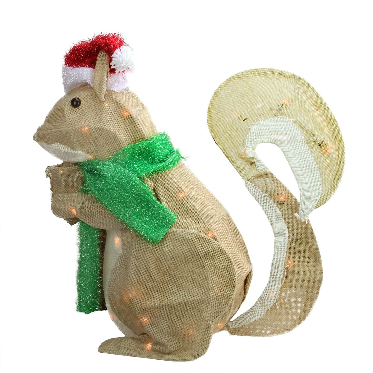 Northlight pre lit outdoor burlap squirrel christmas for Cat outdoor christmas decorations