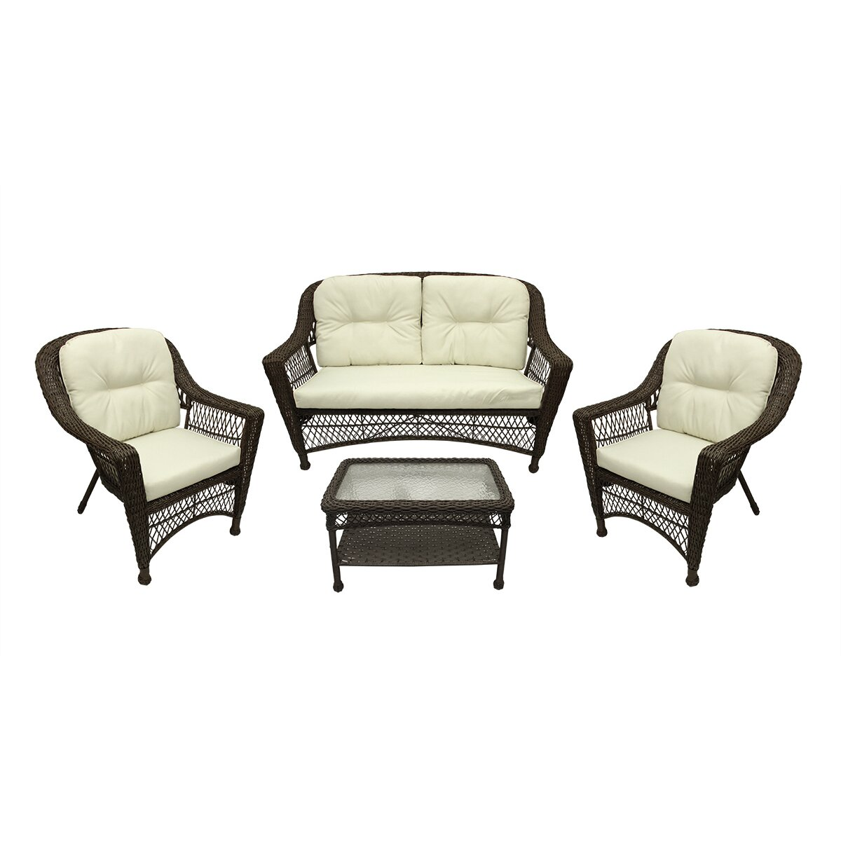 Northlight Somerset 4 Piece Resin Wicker Patio Loveseat Chairs And Table Furniture Set Wayfair