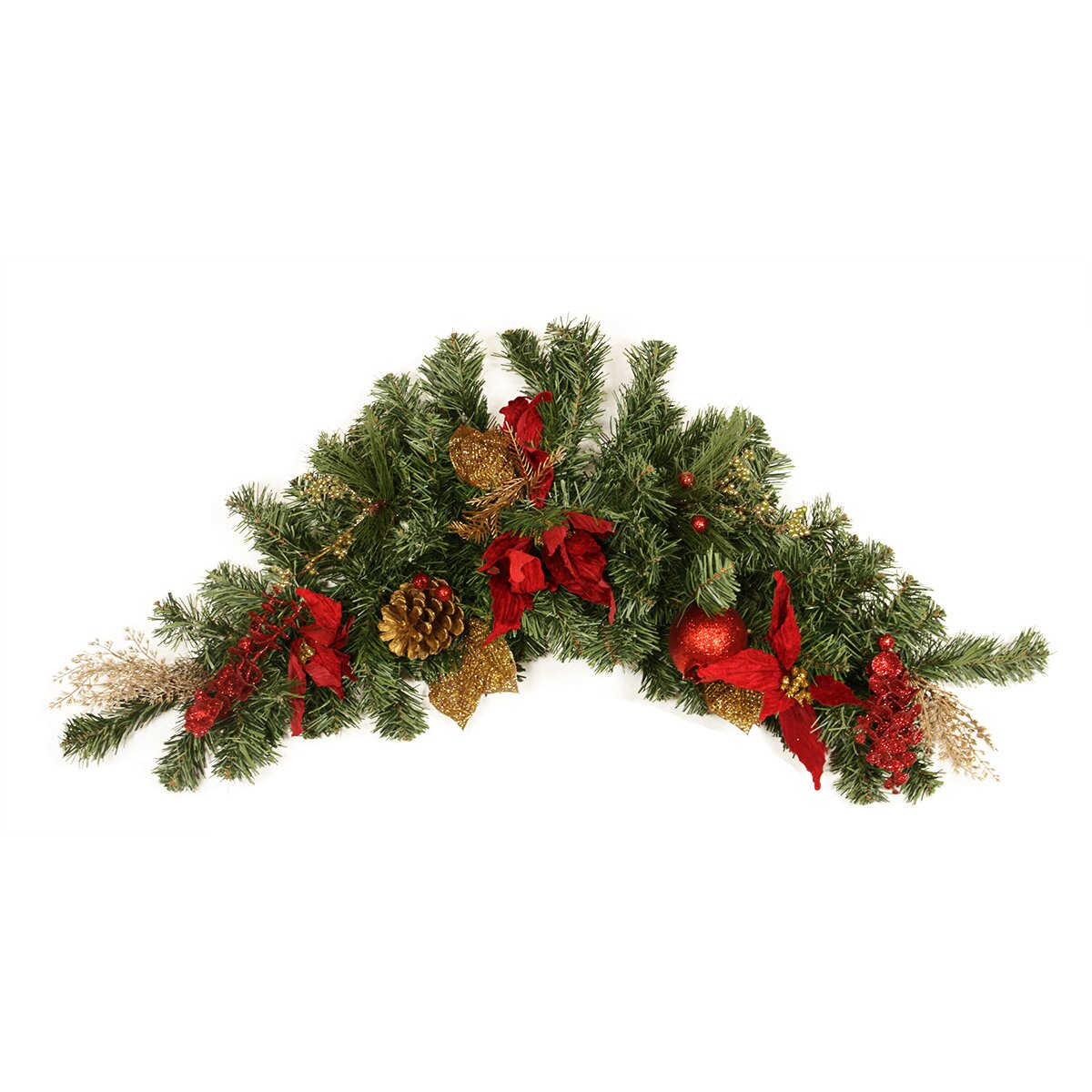Northlight Pre Decorated Pine Poinsettia Eucalyptus And