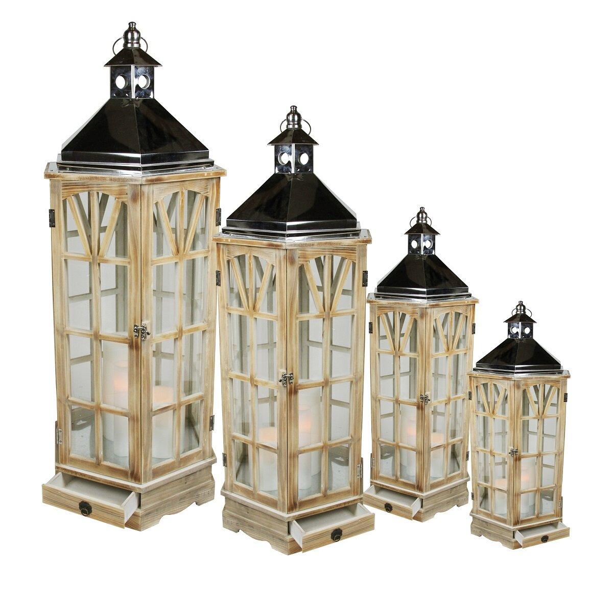 Northlight 4 piece wooden garden round lanterns with for Wooden garden lanterns