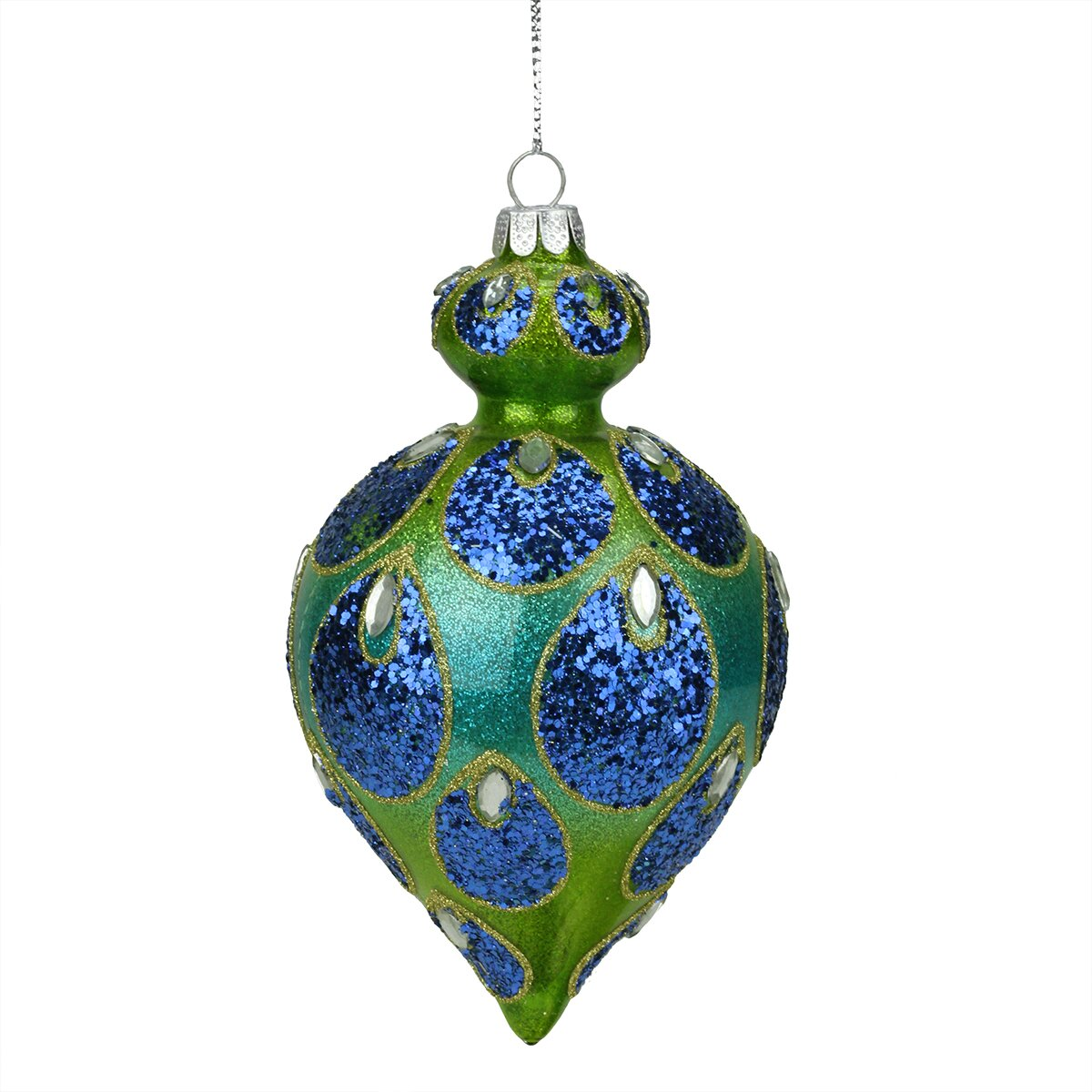 Northlight Regal Peacock Glittered Glass Teardrop Finial Christmas Ornament