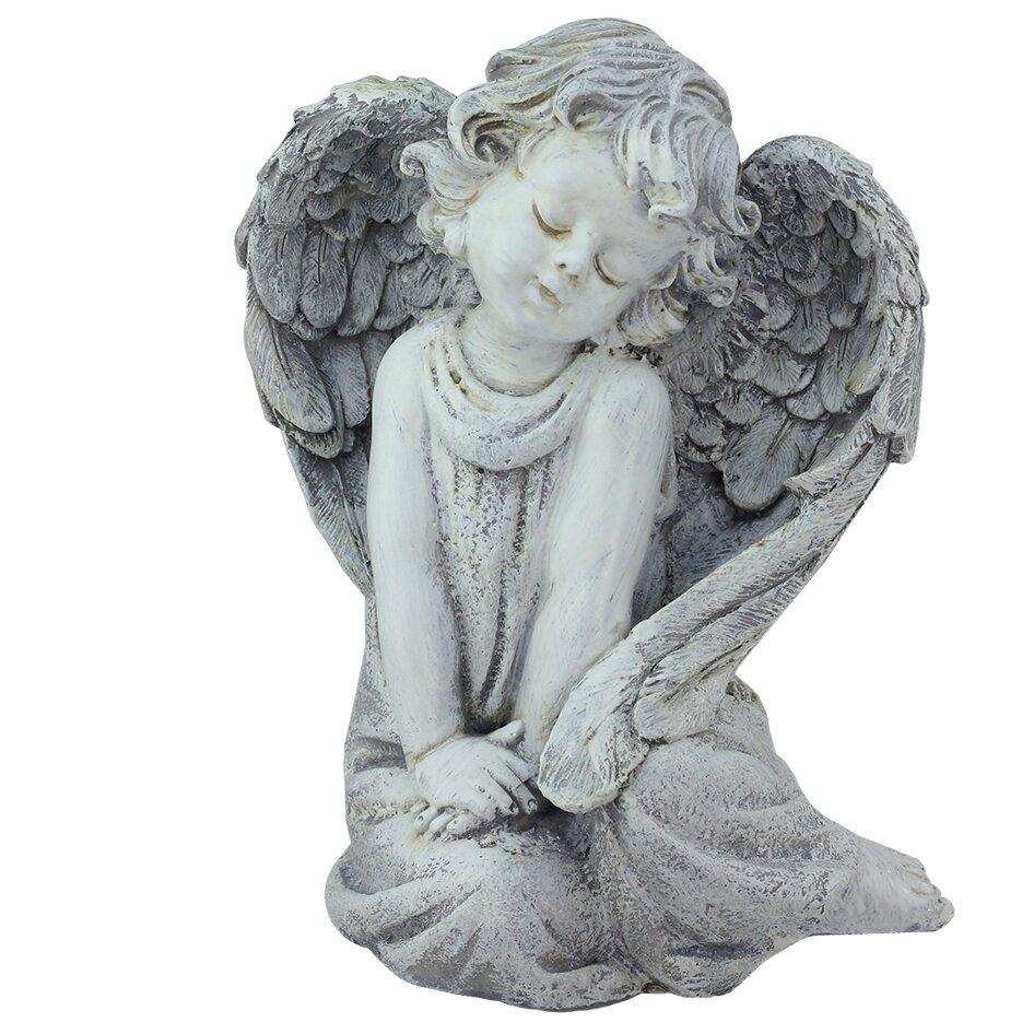 Wayfair Garden Statues: Northlight Sitting Cherub Angel Outdoor Patio Garden