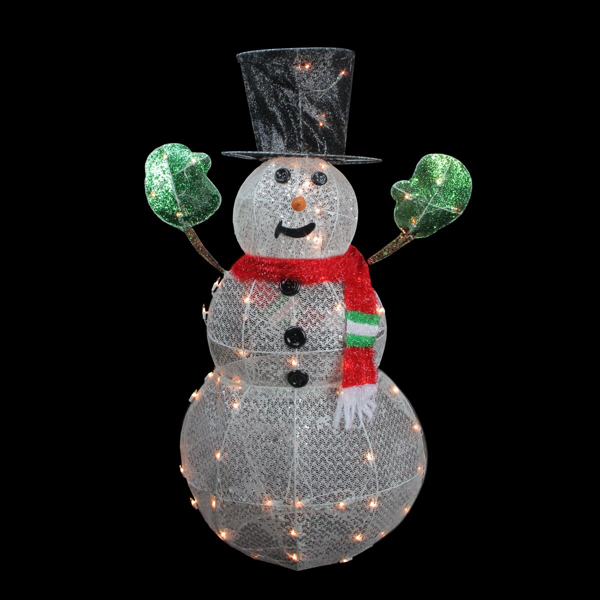 Northlight 3 d lighted glittering mesh winter snowman for 3 d lighted christmas pig holiday outdoor decoration
