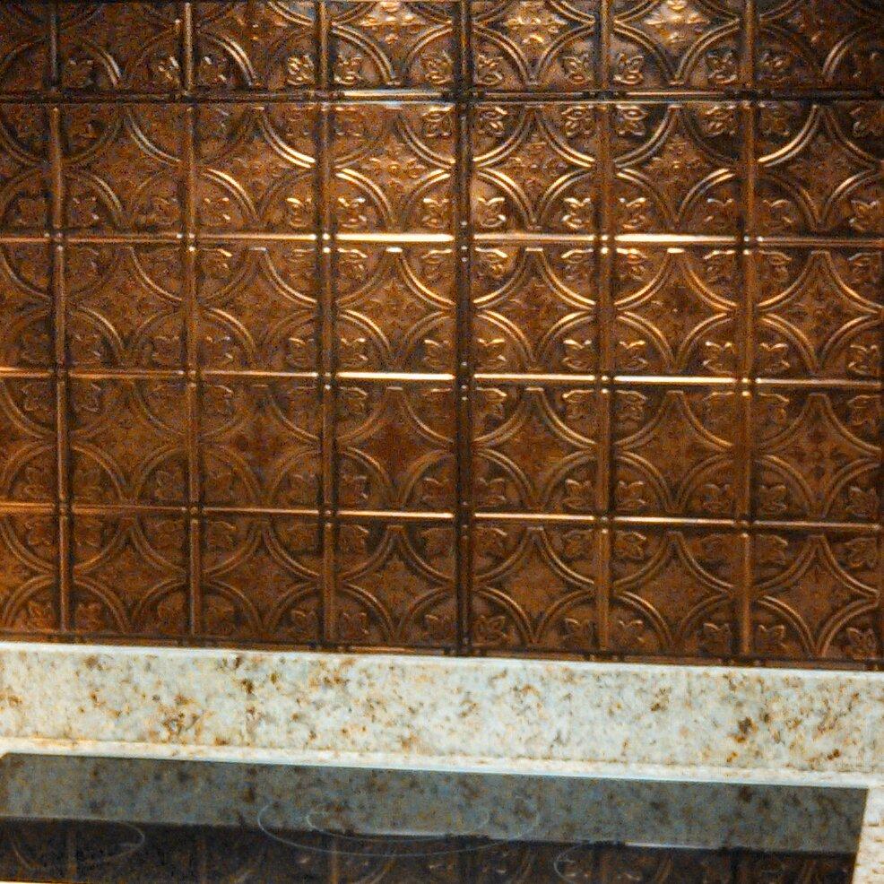 american tin ceilings 24 x 24 metal backsplash panel kit in coppe
