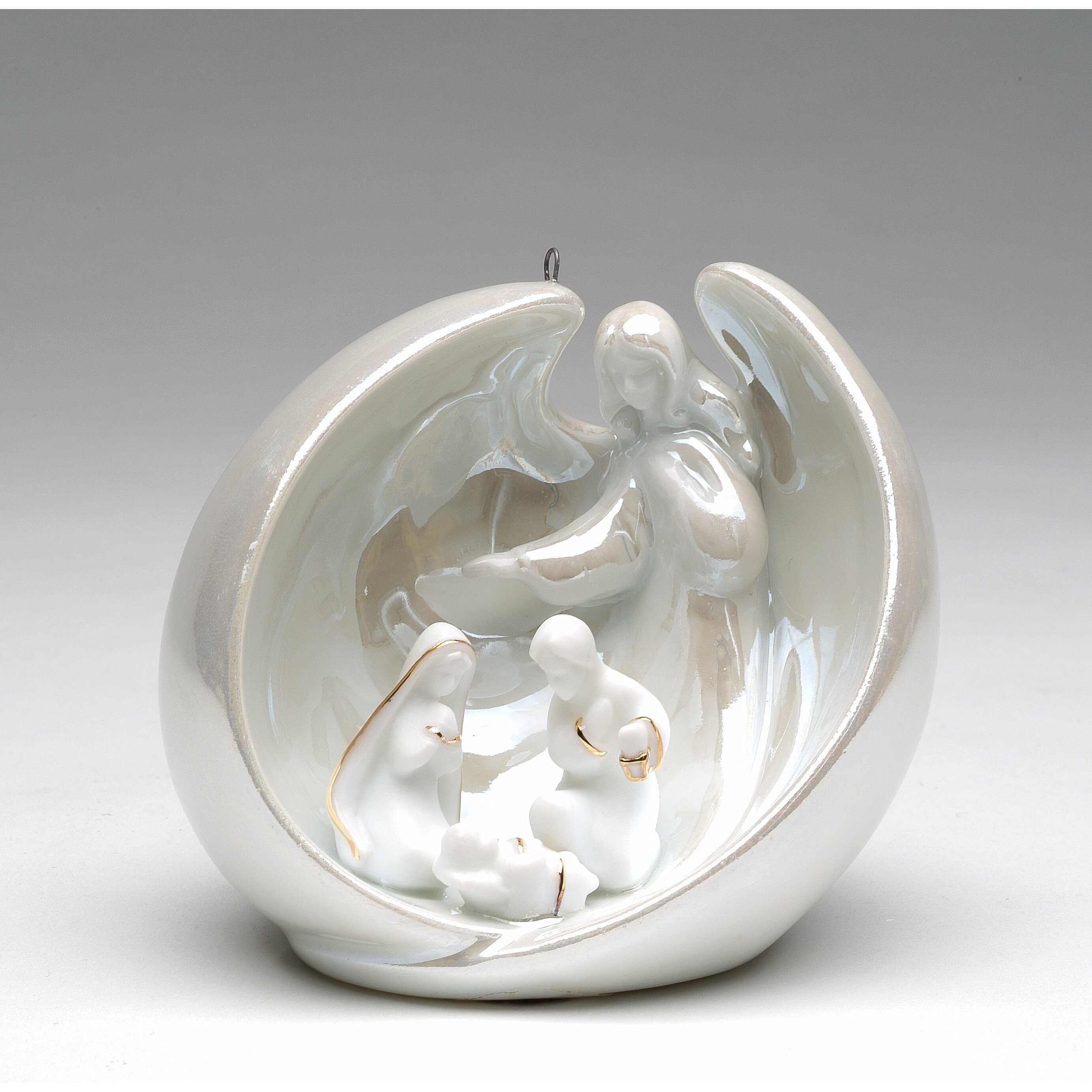 Holy Family With Angel Hair Glass Ornament: CosmosGifts Angel With Holy Family Ornament & Reviews