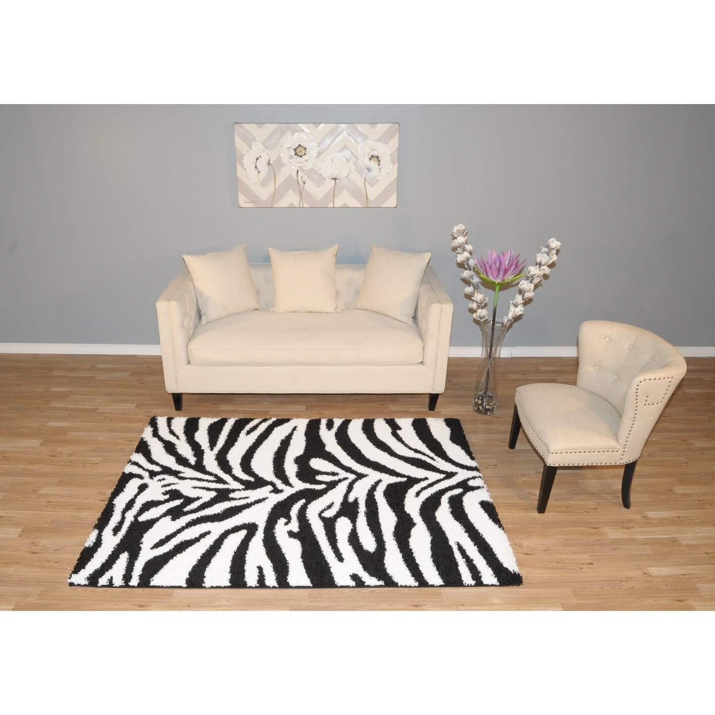 Rugnur Bella Zebra Print Black Amp White Shag Area Rug