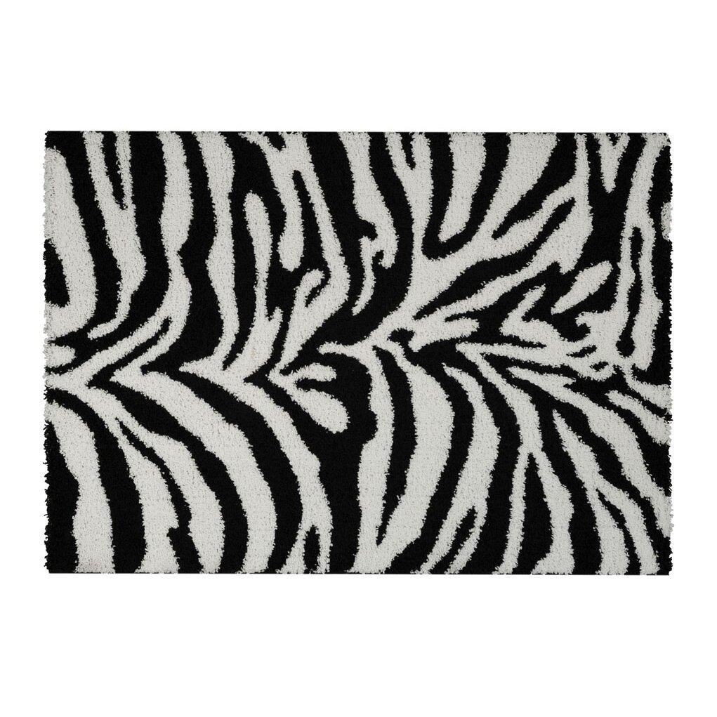 Rugnur Bella Zebra Print Black White Shag Area Rug