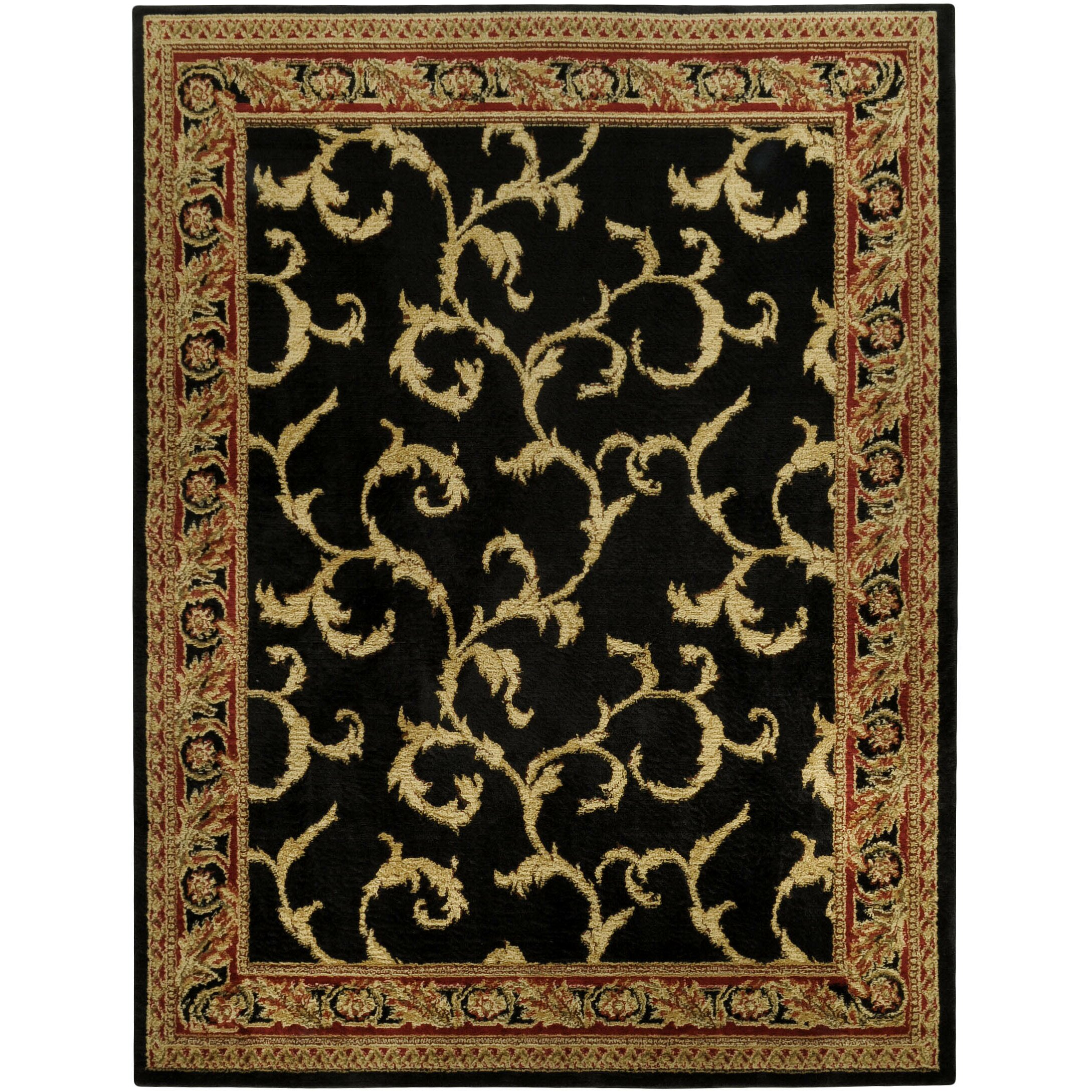 Rugnur Pasha Maxy Home Floral Traditional Black Ivory Area