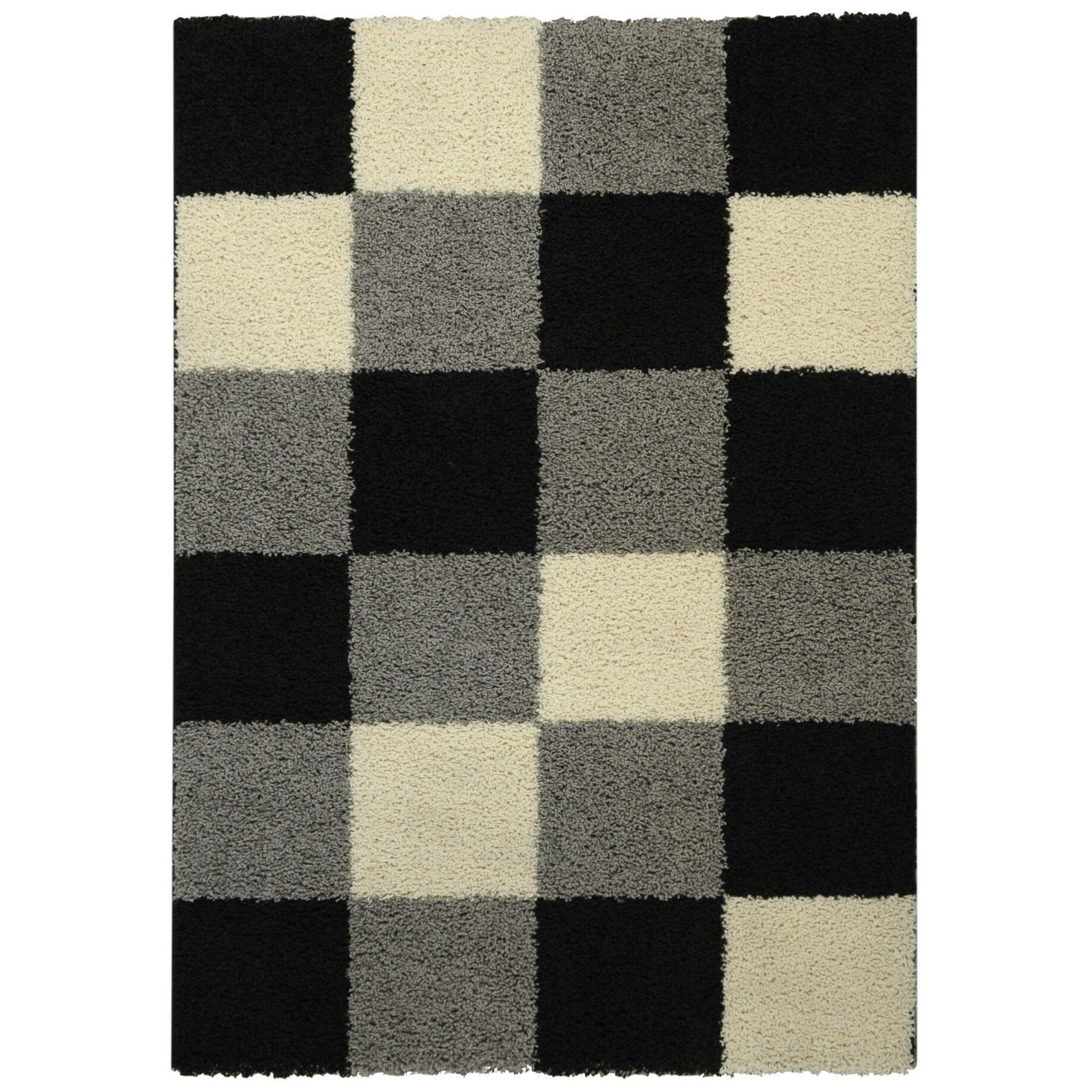 Rugnur bella maxy home checkerboard squares contemporary black grey shag area rug reviews - Checkerboard area rug ...