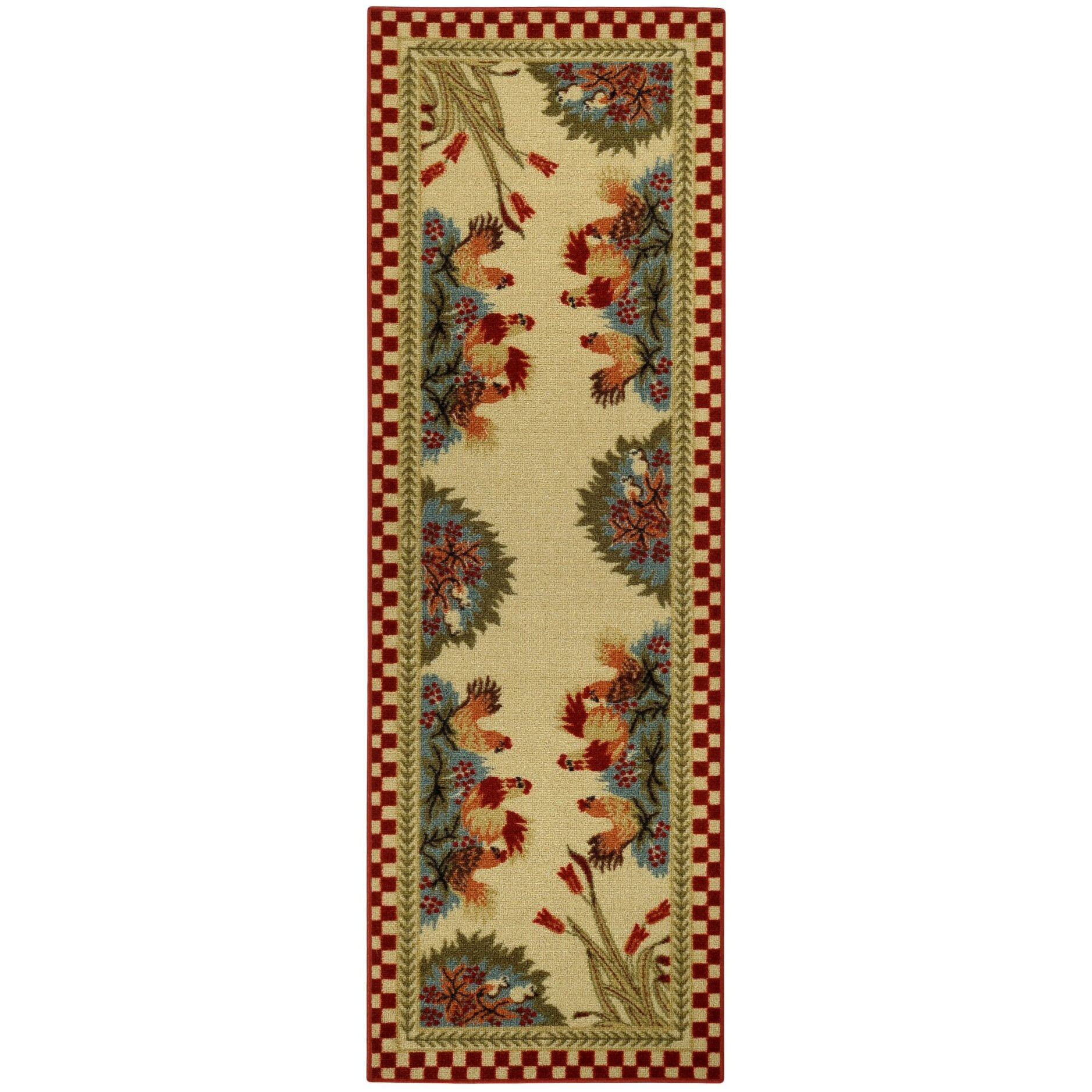 Rugnur Cucina Rooster Checkered Cream/Red Kitchen Area Rug