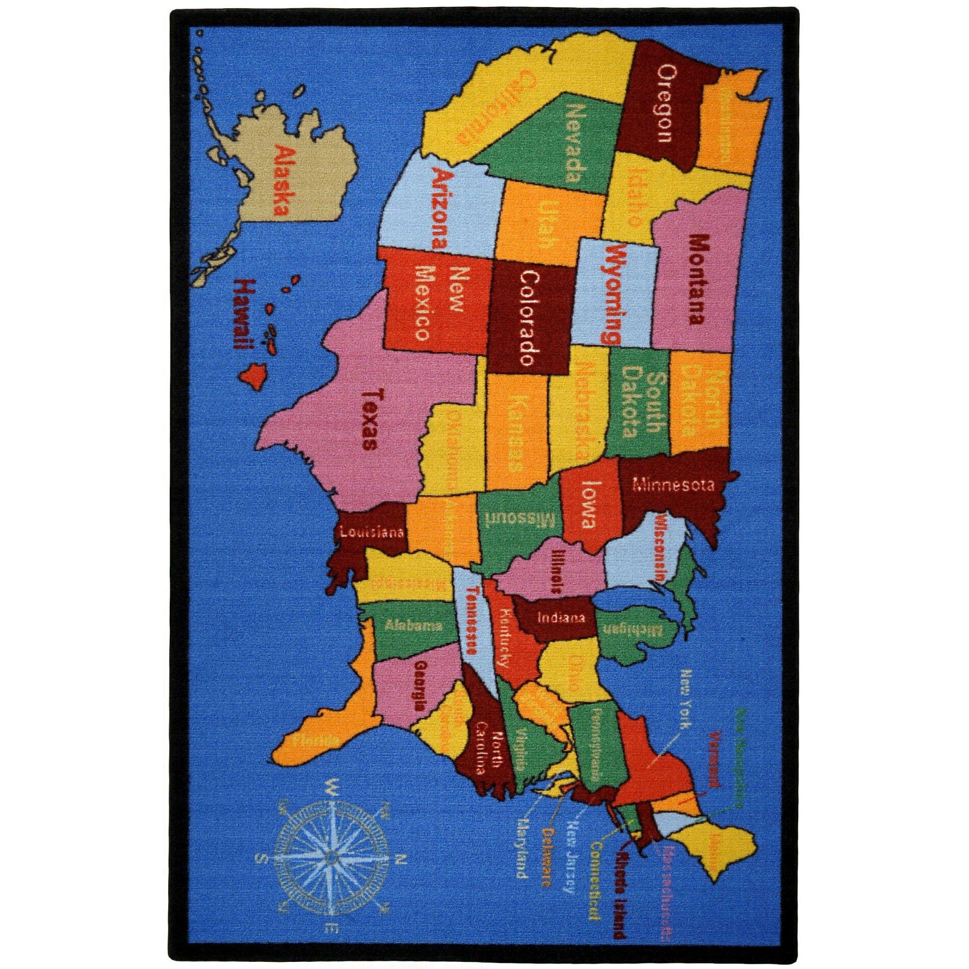 rugnur bambino kids fun time educational united states map
