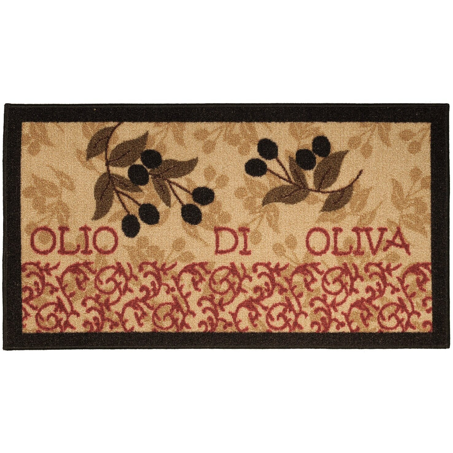 Kitchen Table On Rug: Rugnur Cucina Italian Garden Olive Kitchen Area Rug
