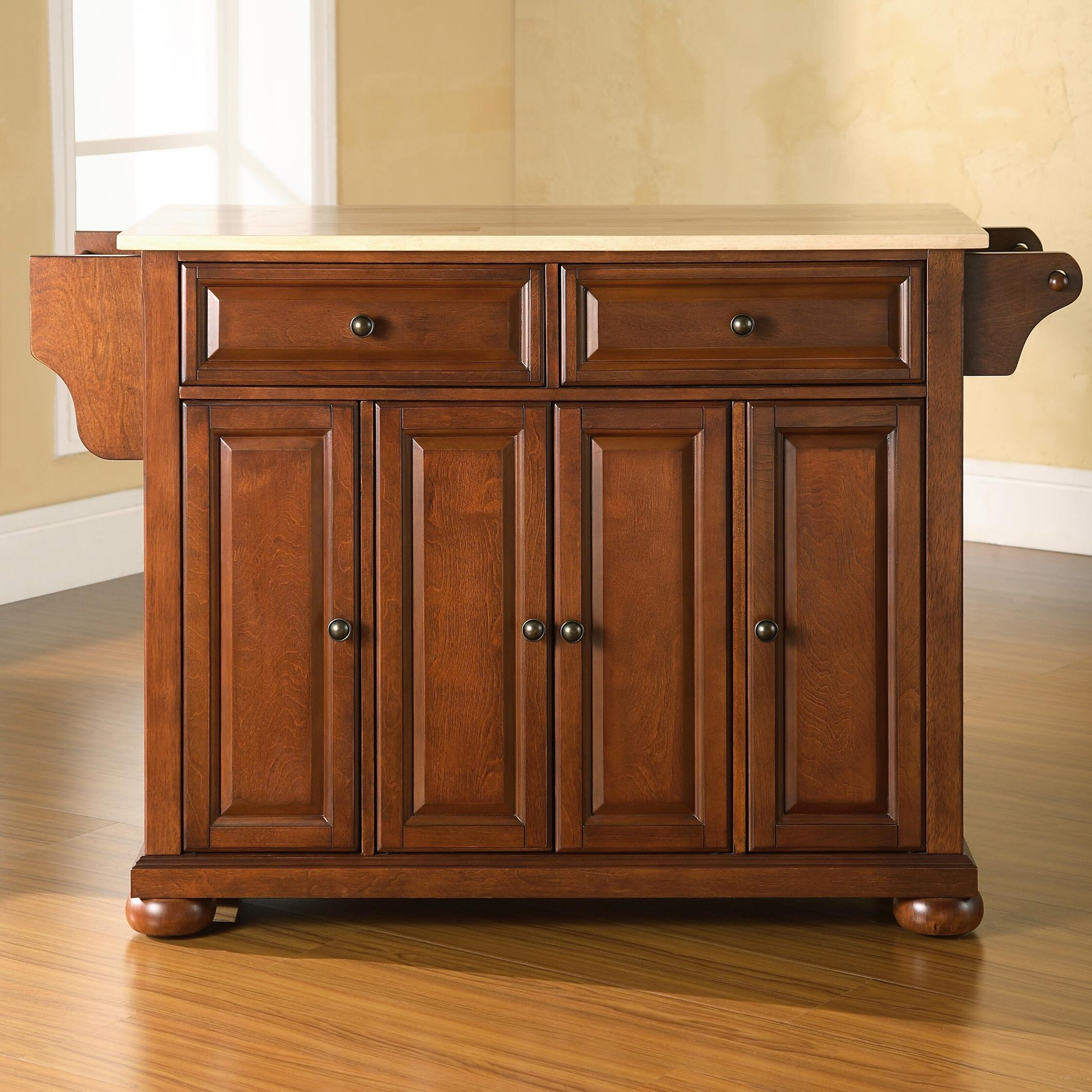 Kitchen Wood Top: Darby Home Co Pottstown Kitchen Island With Wood Top