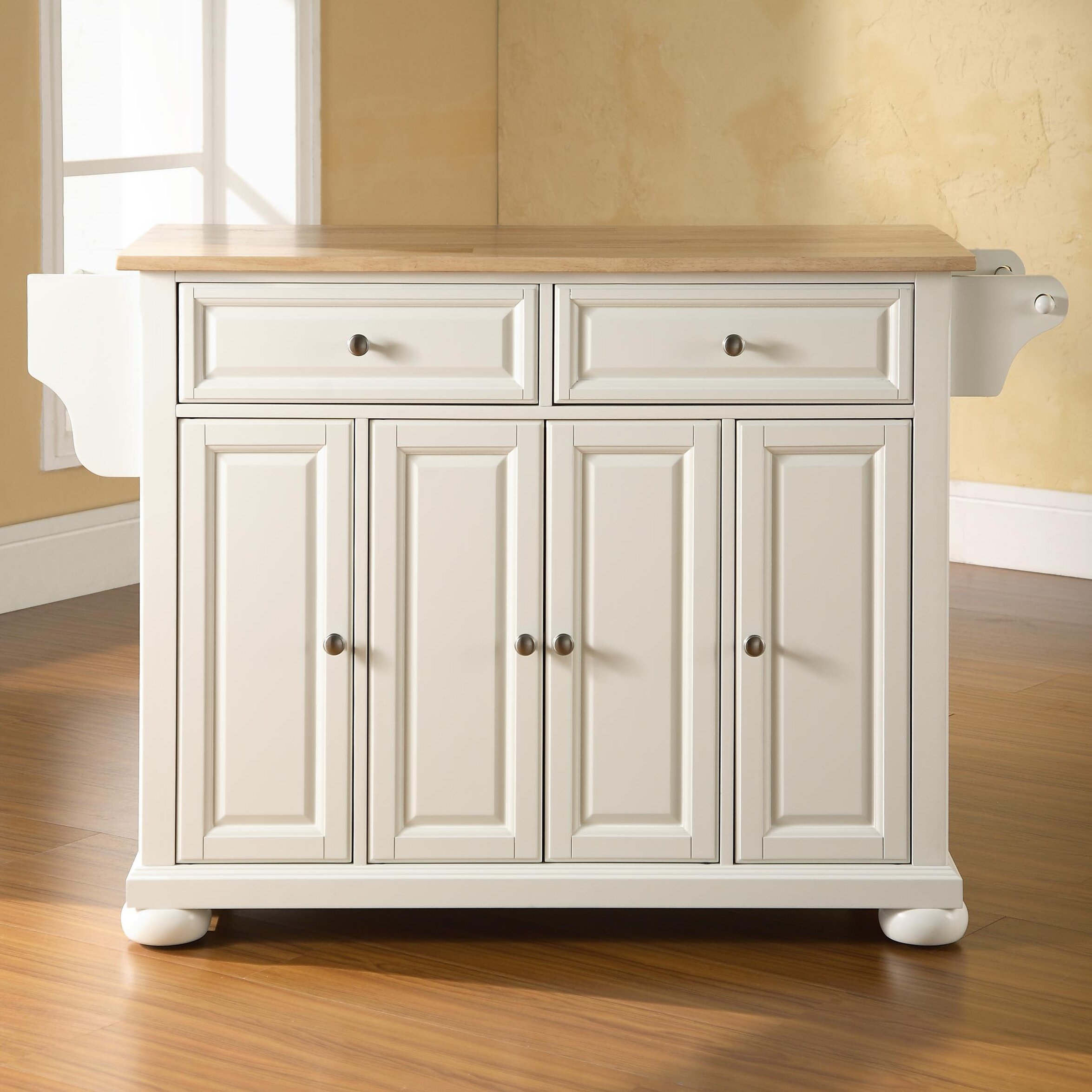 Darby Home Co Pottstown Kitchen Island With Wood Top