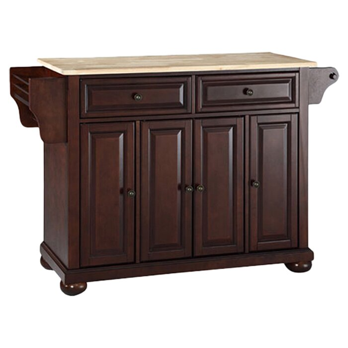 Darby Home Co Pottstown Kitchen Island With Wood Top Reviews Wayfair