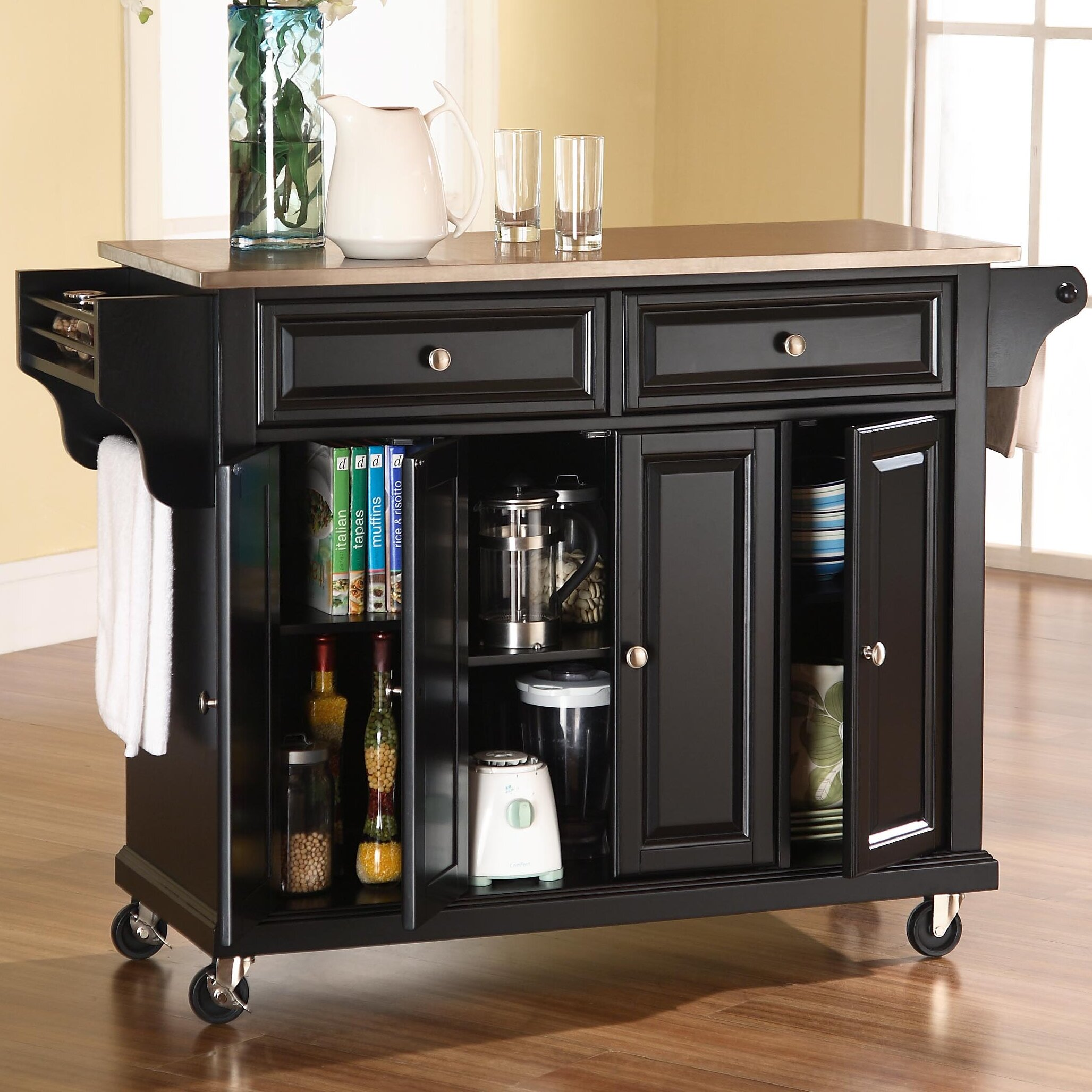 Darby Home Co Pottstown Kitchen Island With Stainless Steel Top Reviews Wayfair