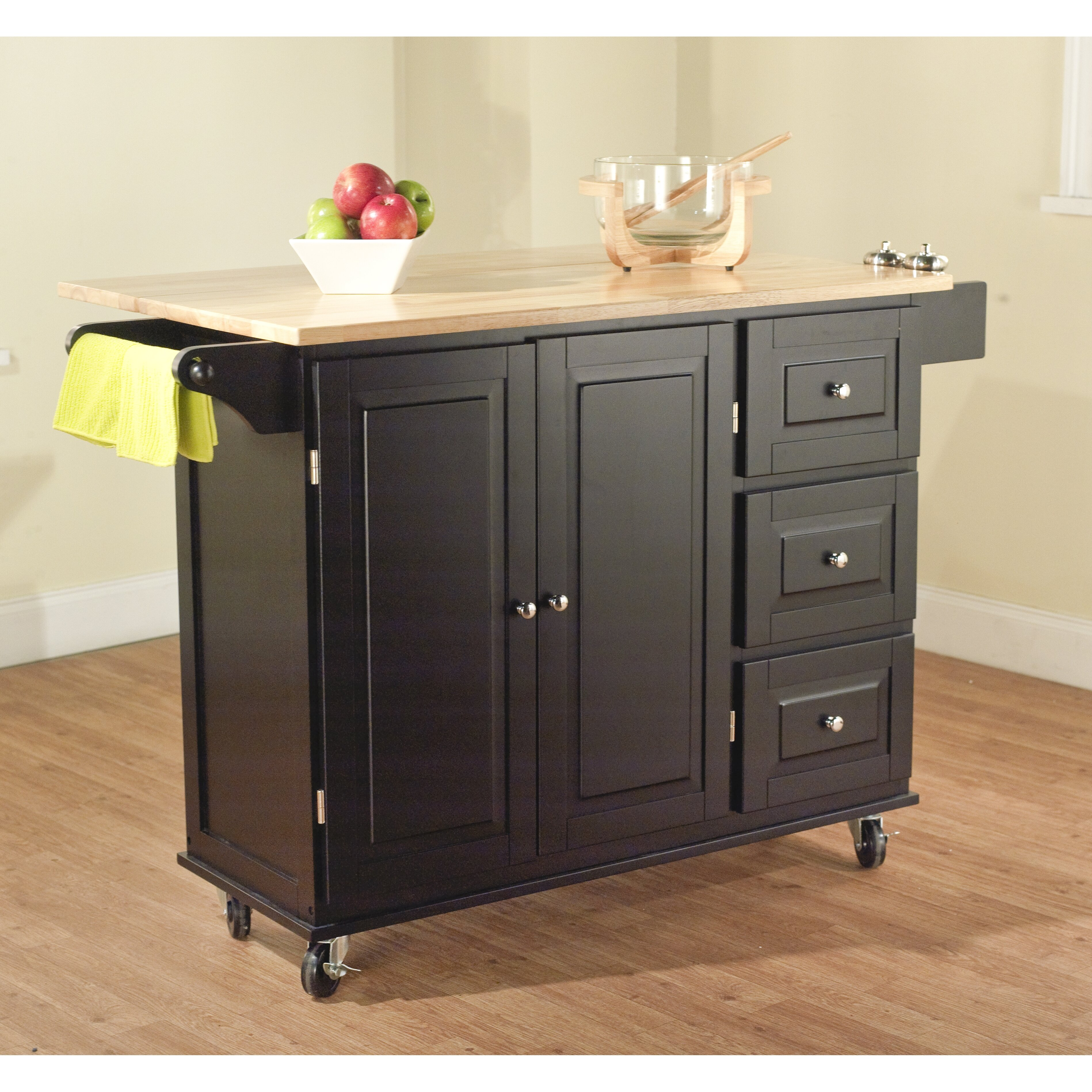 Darby Home Co Arpdale Kitchen Island With Wood Top Reviews Wayfair