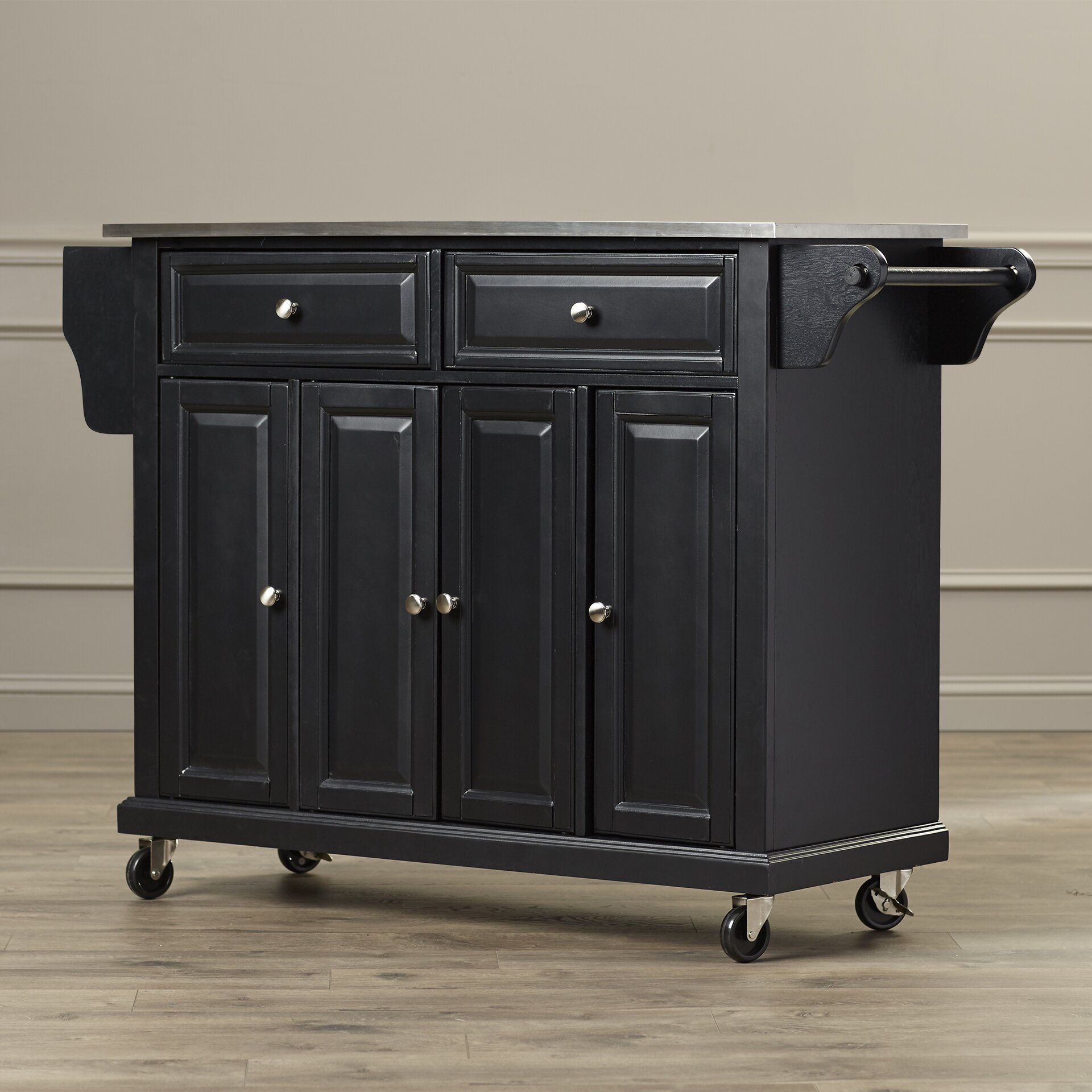 Darby Home Co Pottstown Kitchen Island With Stainless Steel Top Reviews