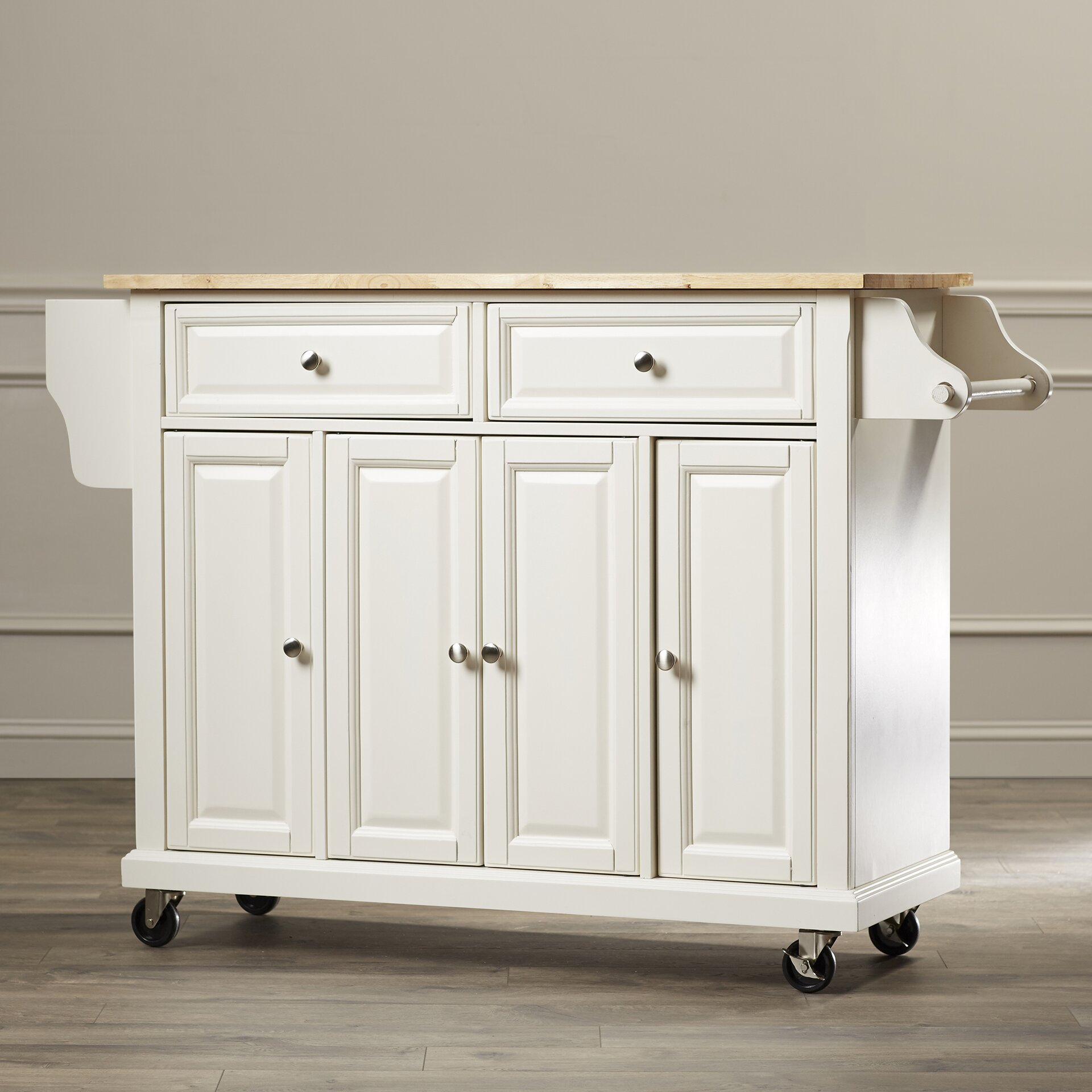 Darby Home Co Headrick Kitchen Cart Island With Natural