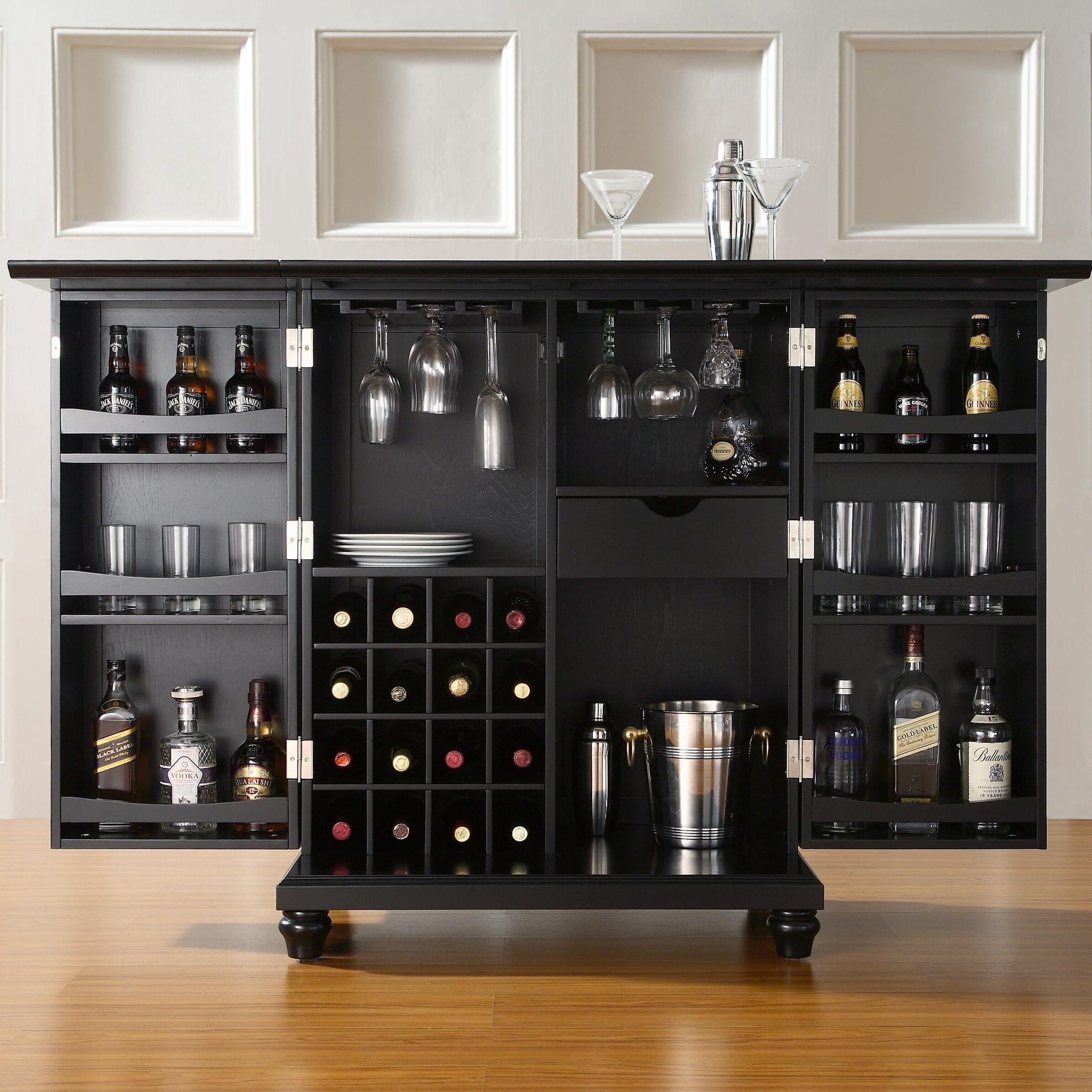 Darby home co hanoverton bar cabinet with wine storage reviews wayfair Home wine bar furniture