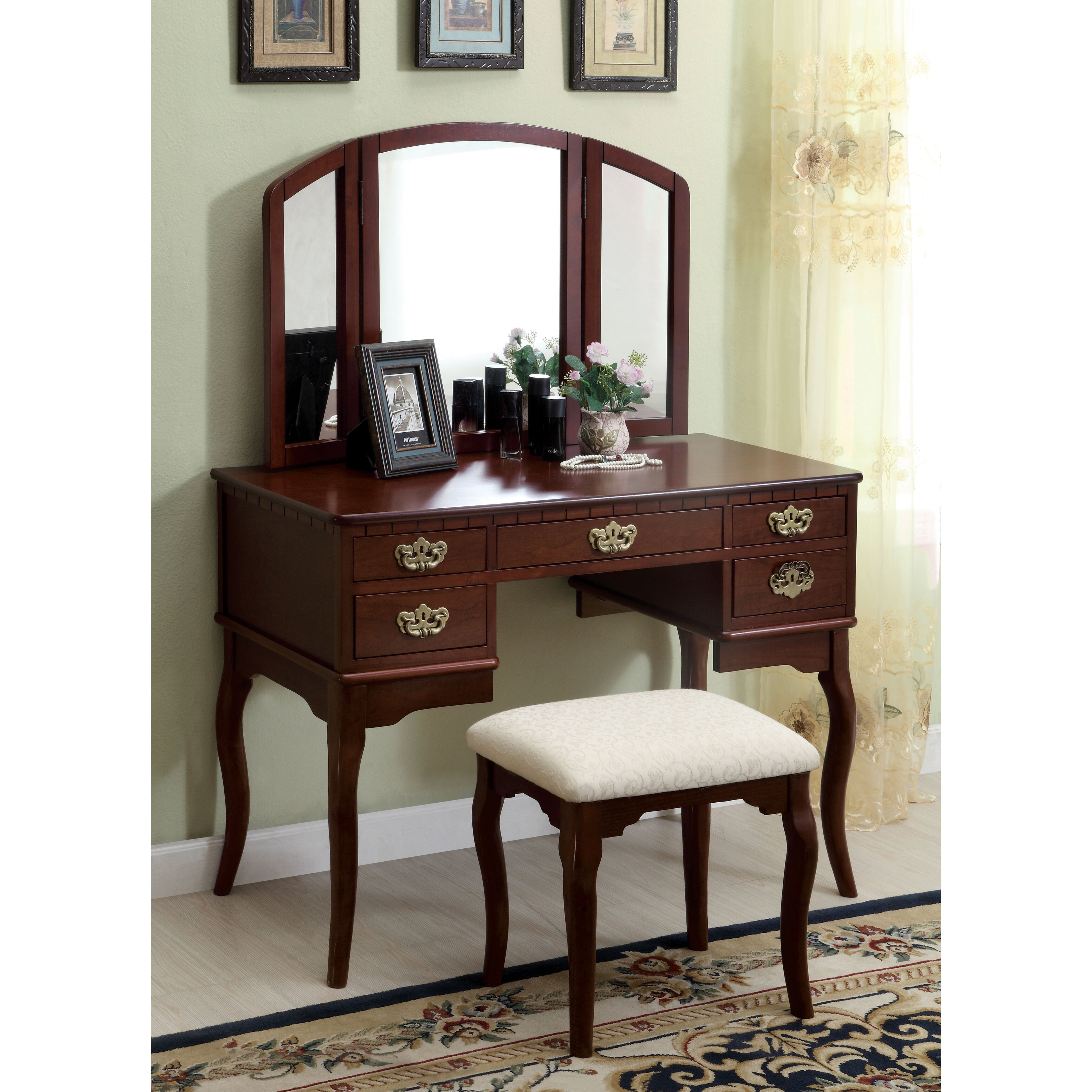 Darby home co falconer 3 piece vanity and stool set for Bedroom furniture vanity