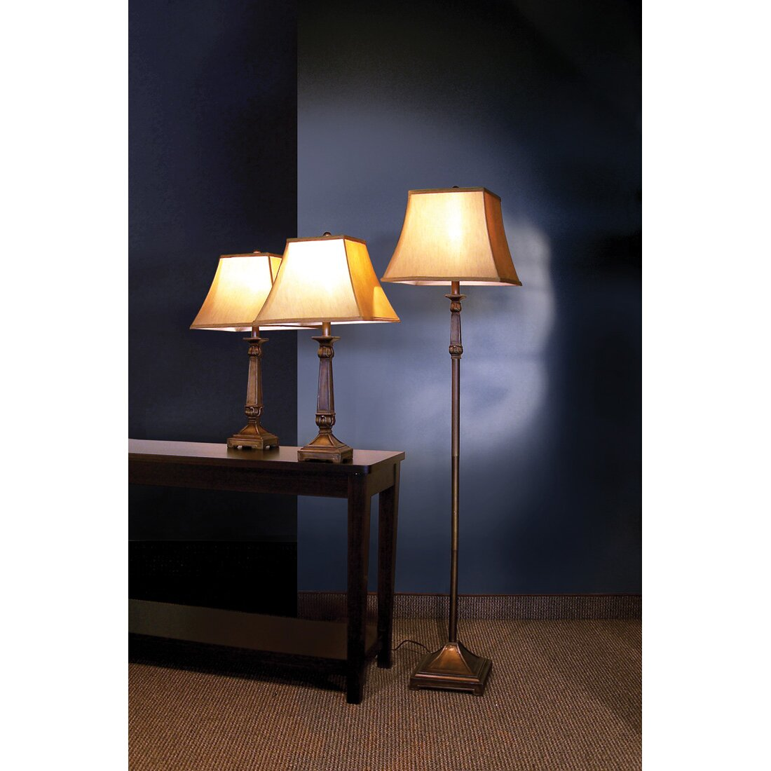 Darby home co froste 3 piece table and floor lamp set for Floor lamp with table